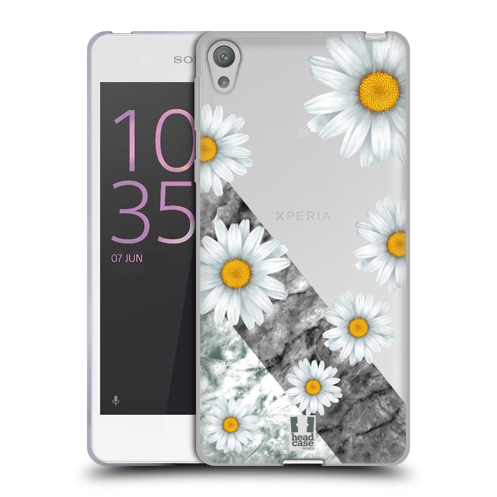 HEAD CASE silikonový obal na mobil Sony Xperia E5 květina sedmikráska a mramor