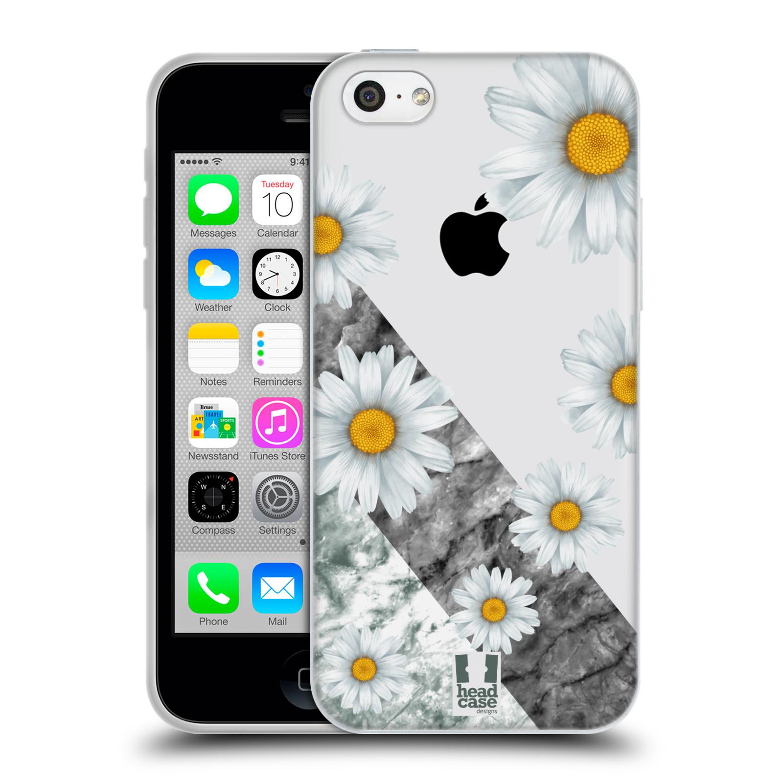 HEAD CASE silikonový obal na mobil Apple Iphone 5C květina sedmikráska a mramor