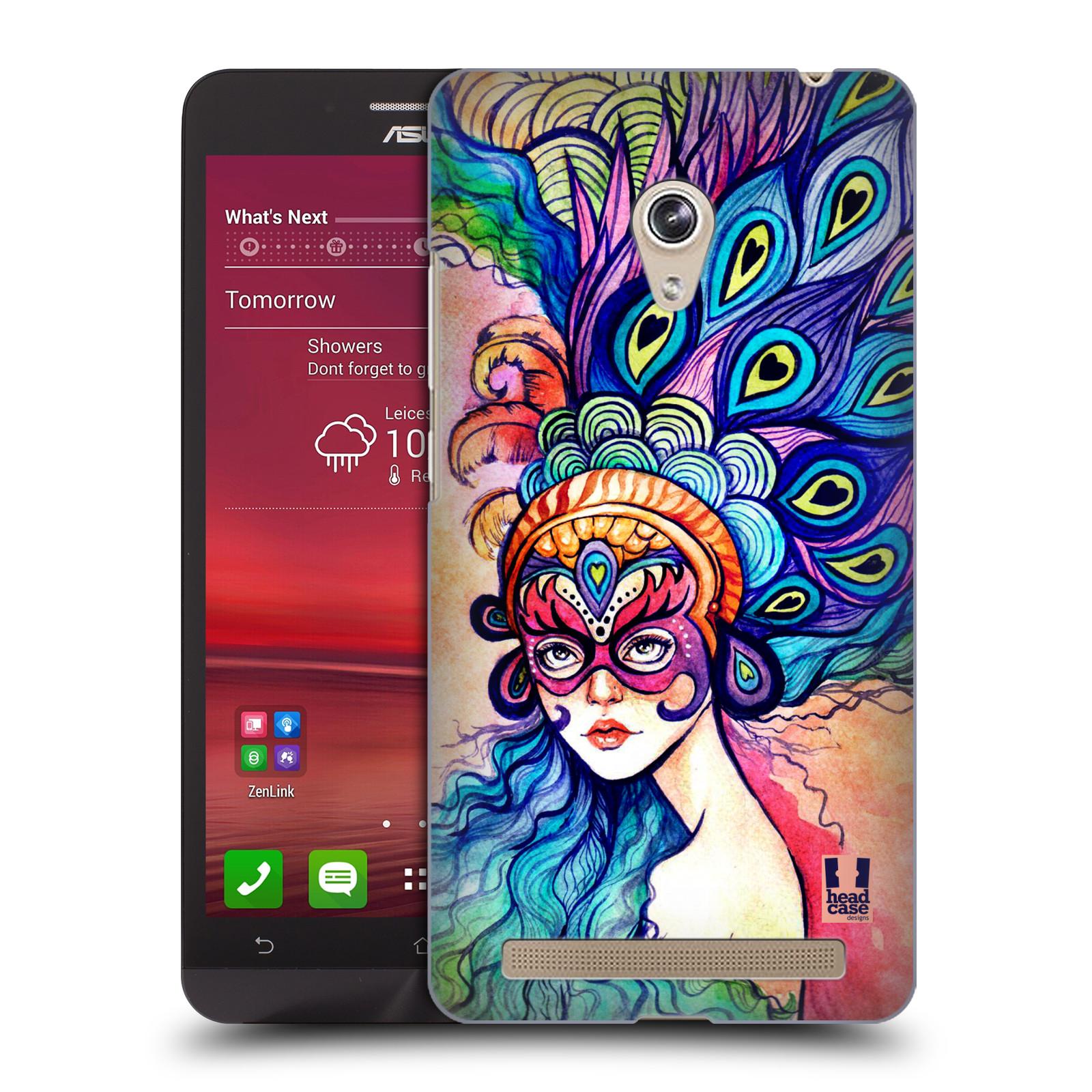 HEAD CASE plastový obal na mobil Asus Zenfone 6 vzor Maškarní ples masky kreslené vzory MODRÉ PÍRKA