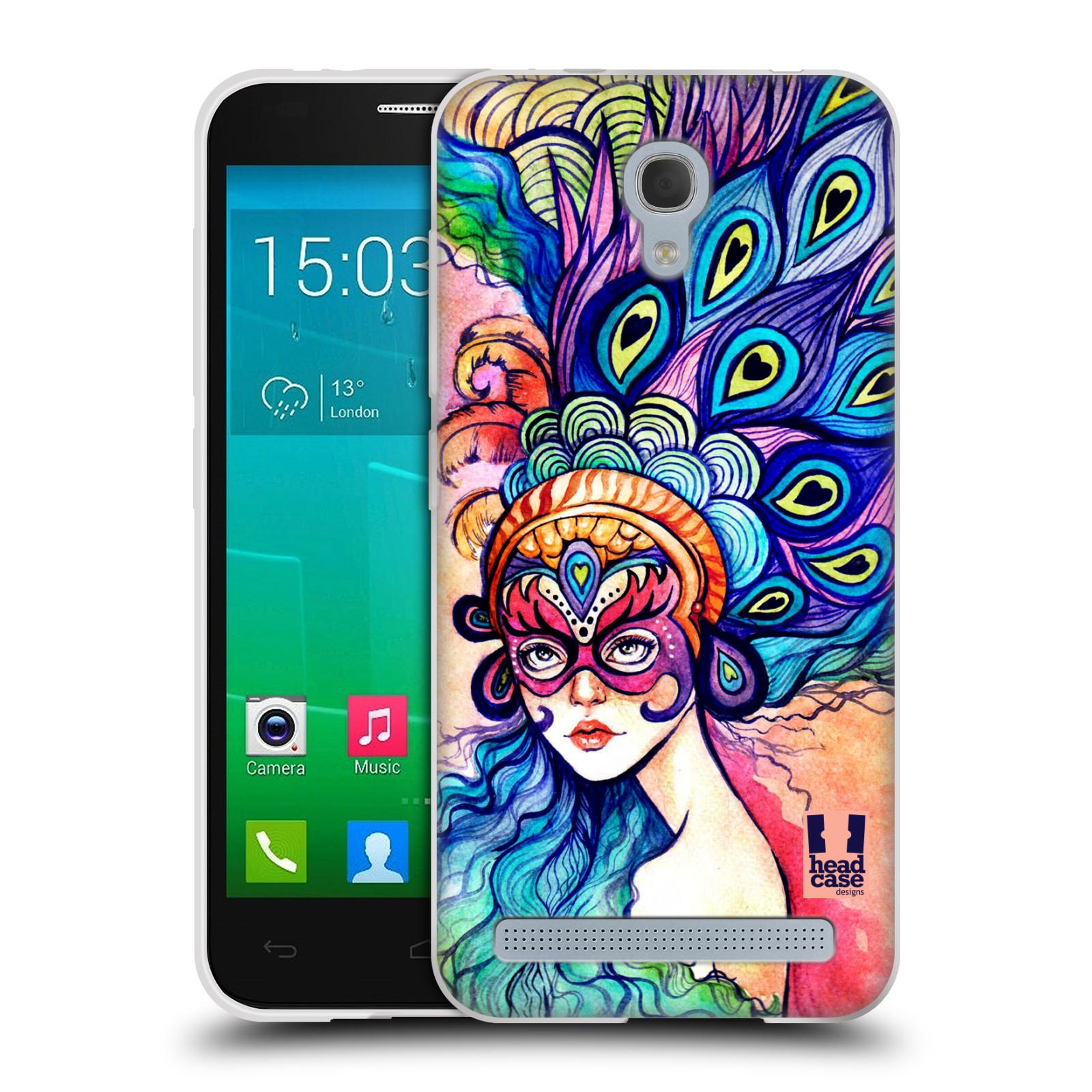 HEAD CASE silikonový obal na mobil Alcatel Idol 2 MINI S 6036Y vzor Maškarní ples masky kreslené vzory MODRÉ PÍRKA