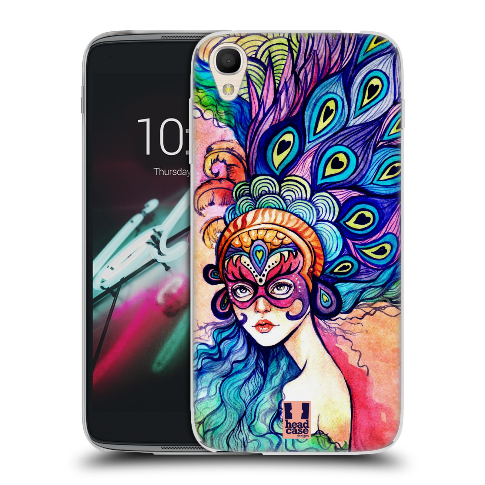 HEAD CASE silikonový obal na mobil Alcatel Idol 3 OT-6039Y (4.7) vzor Maškarní ples masky kreslené vzory MODRÉ PÍRKA
