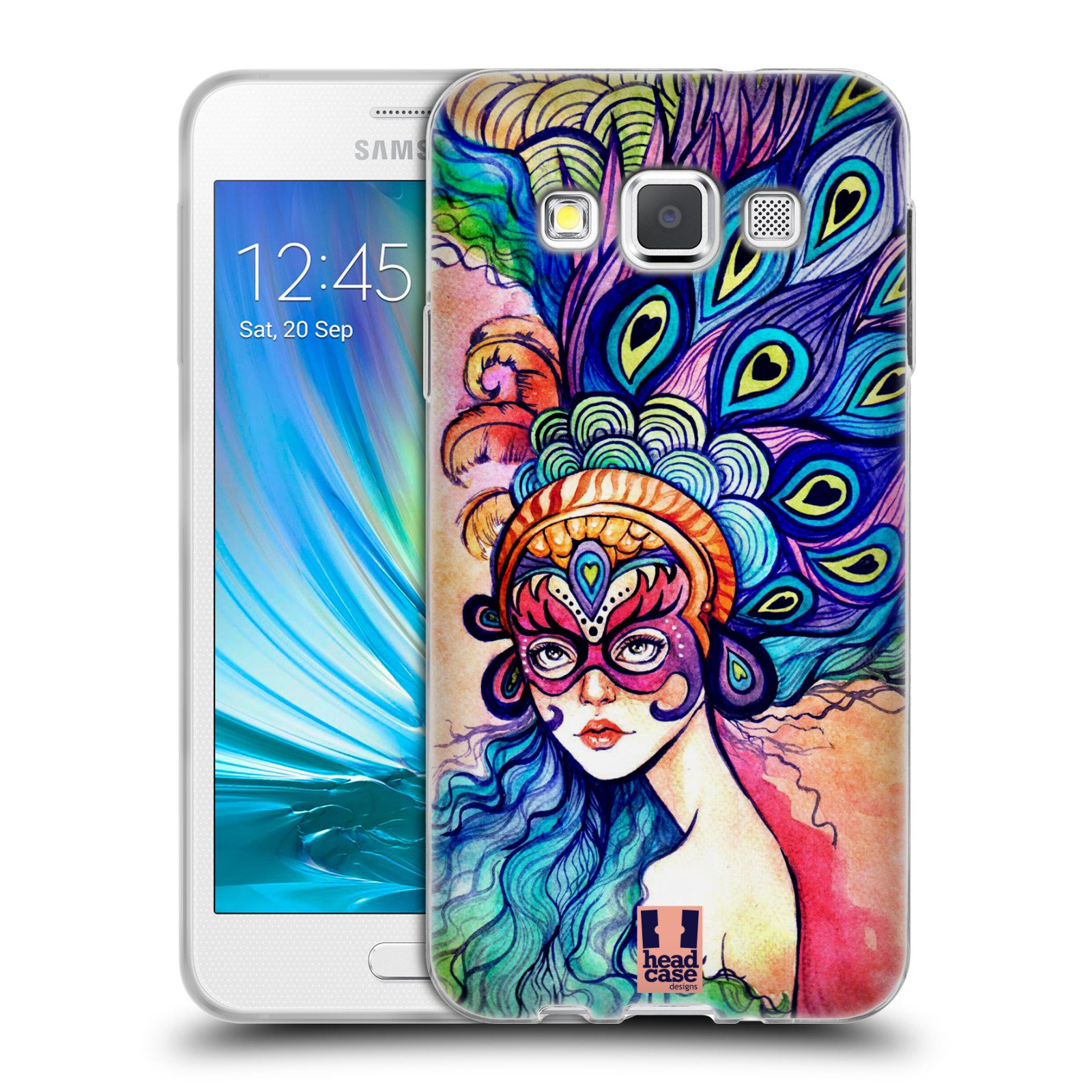 HEAD CASE silikonový obal na mobil Samsung Galaxy A3 vzor Maškarní ples masky kreslené vzory MODRÉ PÍRKA