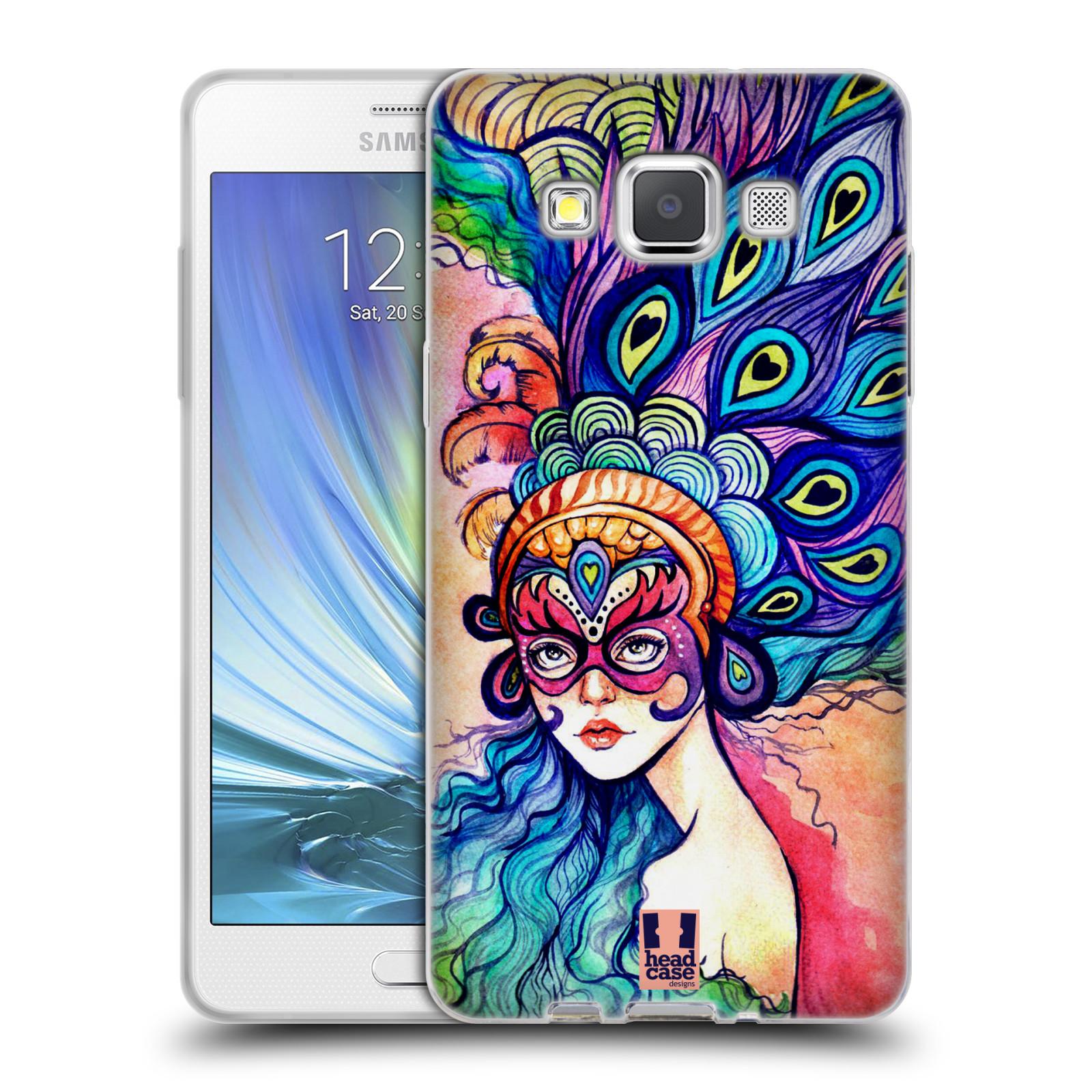 HEAD CASE silikonový obal na mobil Samsung Galaxy A5 vzor Maškarní ples masky kreslené vzory MODRÉ PÍRKA