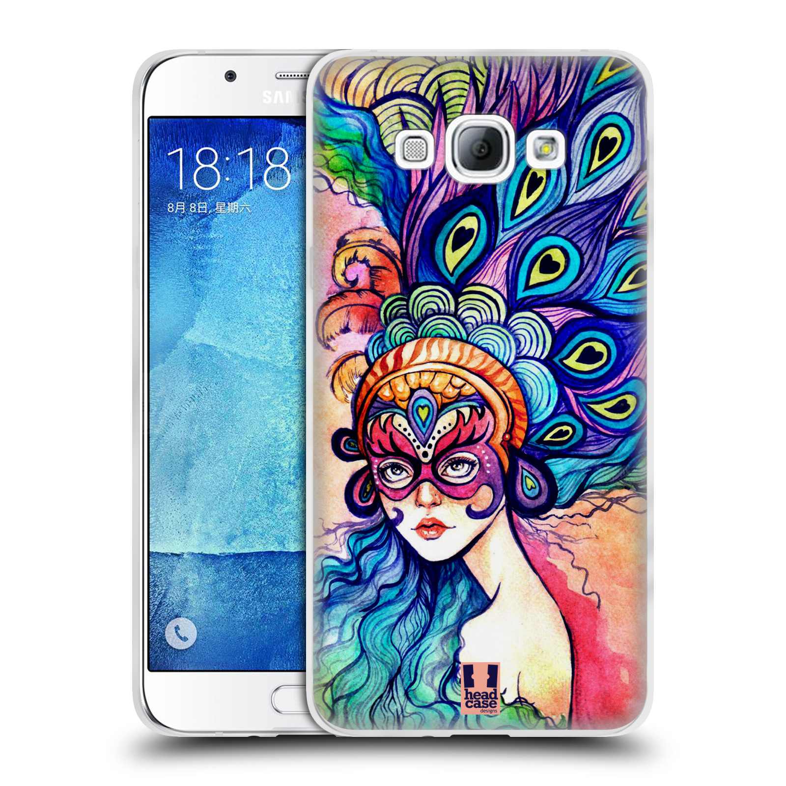 HEAD CASE silikonový obal na mobil Samsung Galaxy A8 vzor Maškarní ples masky kreslené vzory MODRÉ PÍRKA