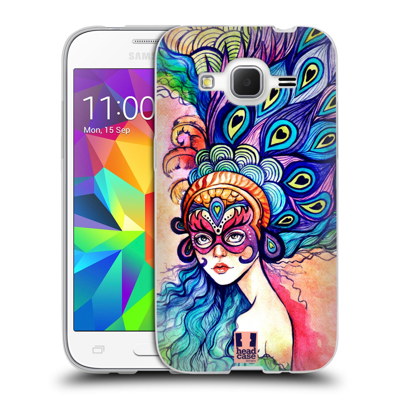 HEAD CASE silikonový obal na mobil Samsung Galaxy Core Prime (G360) vzor Maškarní ples masky kreslené vzory MODRÉ PÍRKA