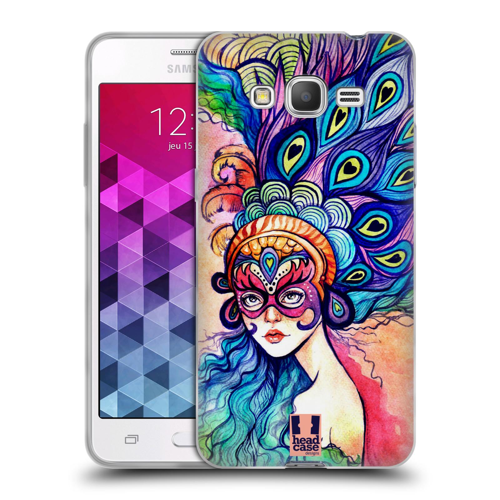 HEAD CASE silikonový obal na mobil Samsung Galaxy GRAND PRIME vzor Maškarní ples masky kreslené vzory MODRÉ PÍRKA