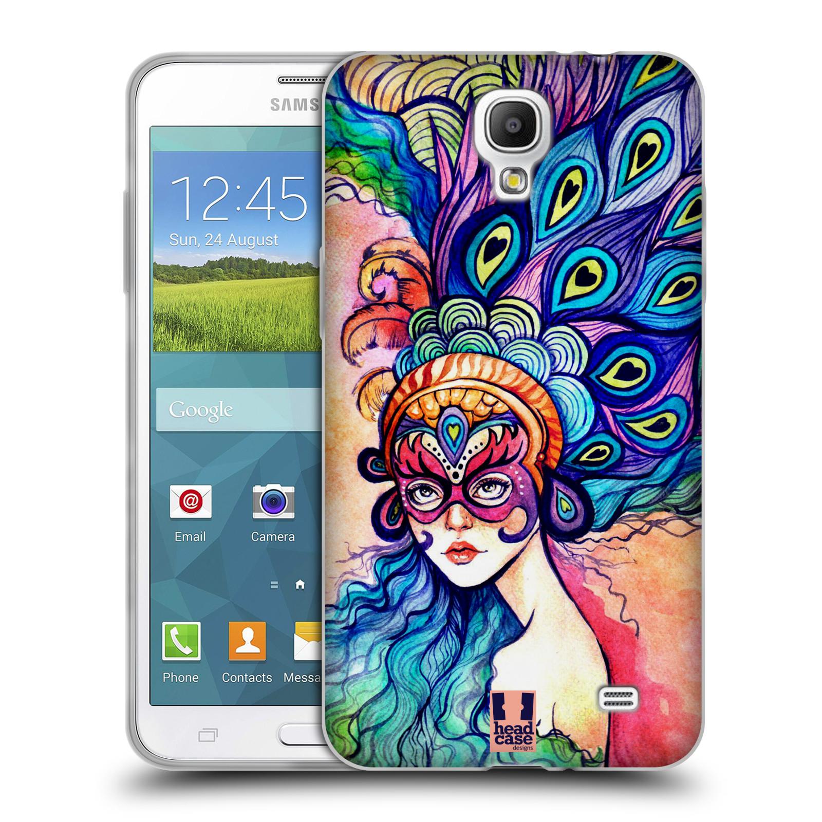 HEAD CASE silikonový obal na mobil Samsung Galaxy Mega 2 vzor Maškarní ples masky kreslené vzory MODRÉ PÍRKA