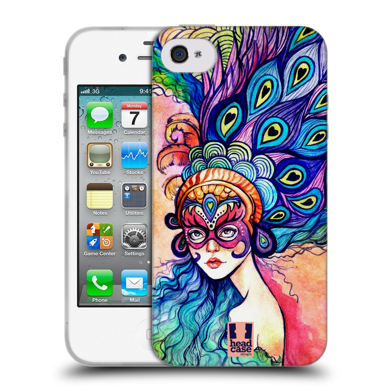 HEAD CASE silikonový obal na mobil Apple Iphone 4/4S vzor Maškarní ples masky kreslené vzory MODRÉ PÍRKA
