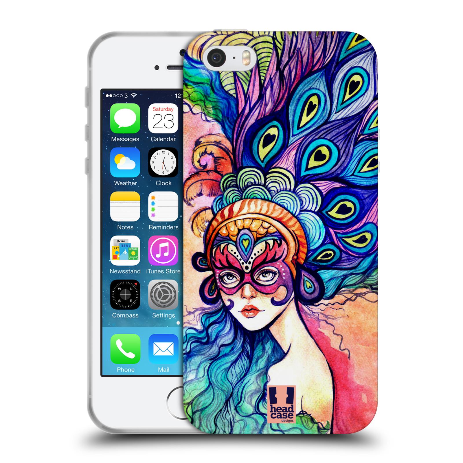 HEAD CASE silikonový obal na mobil Apple Iphone 5/5S vzor Maškarní ples masky kreslené vzory MODRÉ PÍRKA