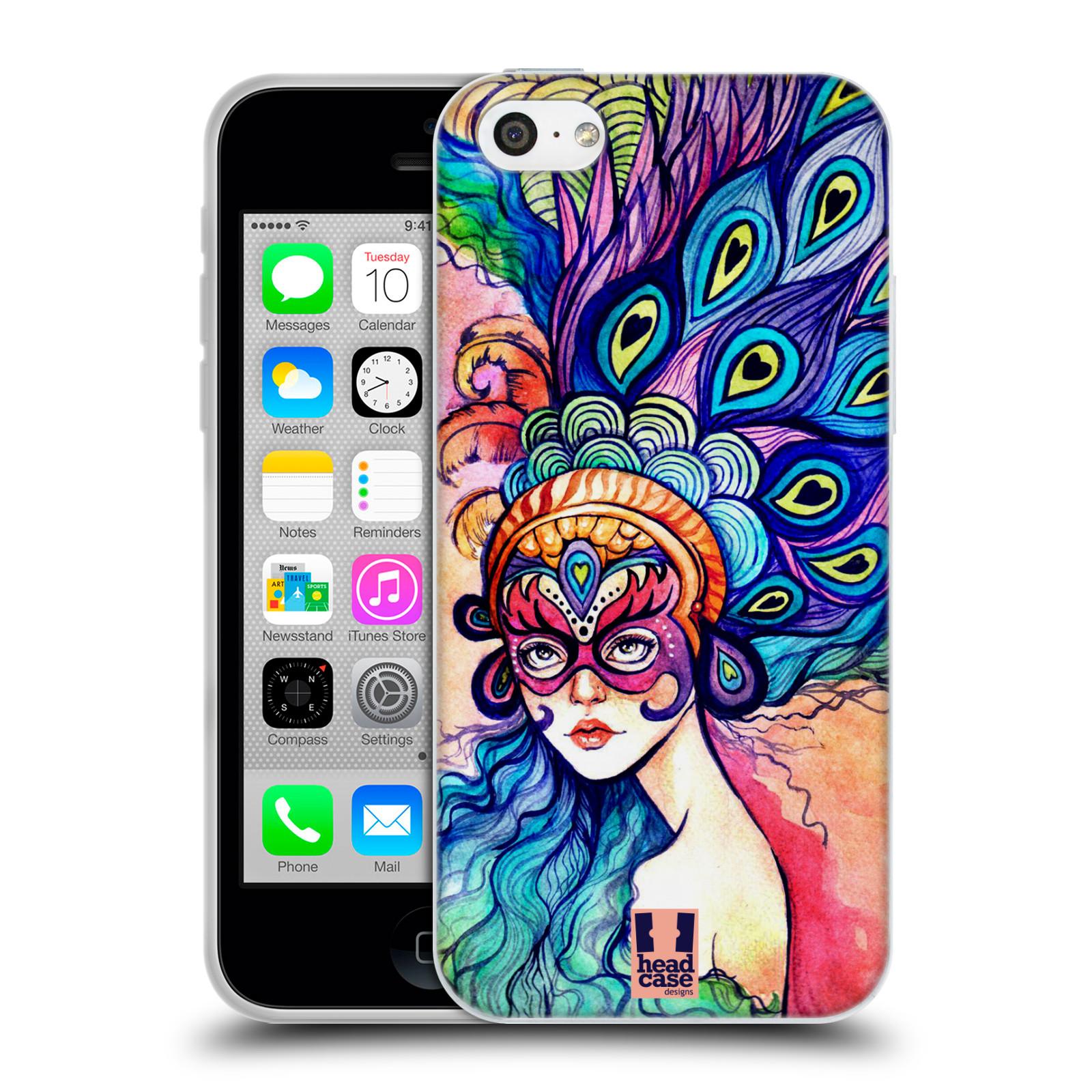 HEAD CASE silikonový obal na mobil Apple Iphone 5C vzor Maškarní ples masky kreslené vzory MODRÉ PÍRKA