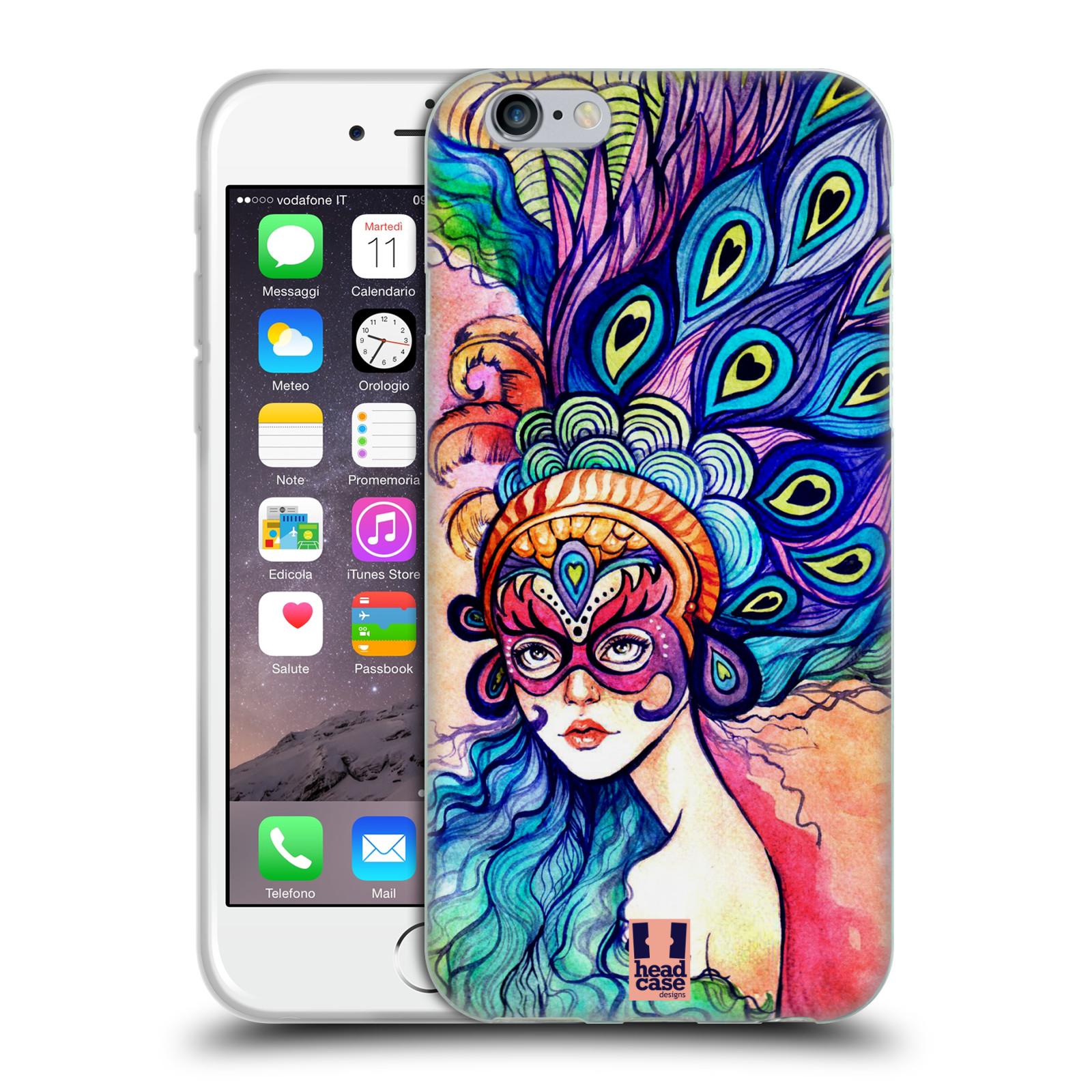 HEAD CASE silikonový obal na mobil Apple Iphone 6/6S vzor Maškarní ples masky kreslené vzory MODRÉ PÍRKA