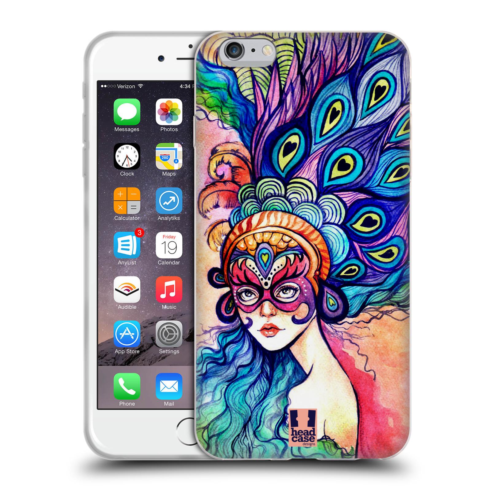 HEAD CASE silikonový obal na mobil Apple Iphone 6 PLUS/ 6S PLUS vzor Maškarní ples masky kreslené vzory MODRÉ PÍRKA