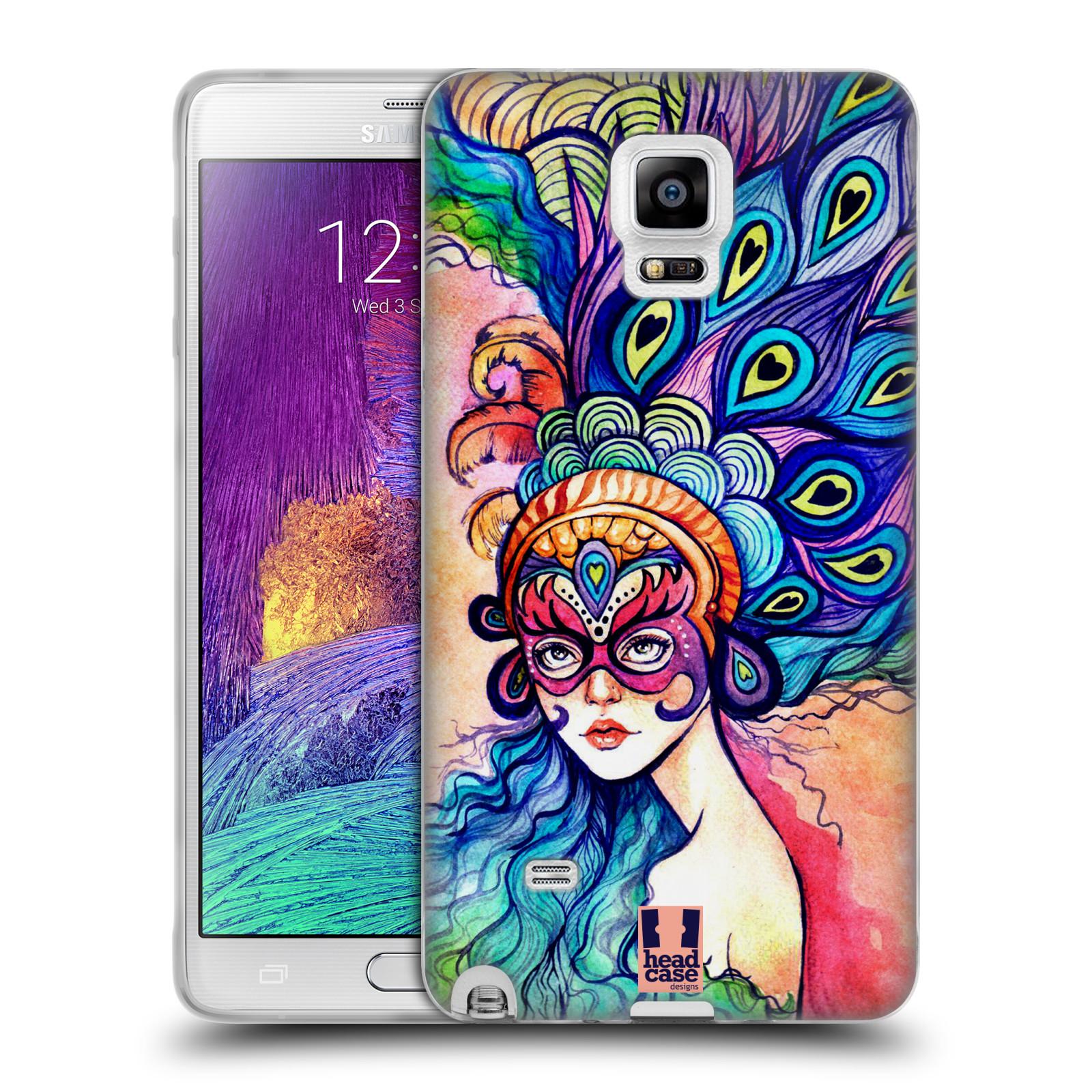 HEAD CASE silikonový obal na mobil Samsung Galaxy Note 4 (N910) vzor Maškarní ples masky kreslené vzory MODRÉ PÍRKA