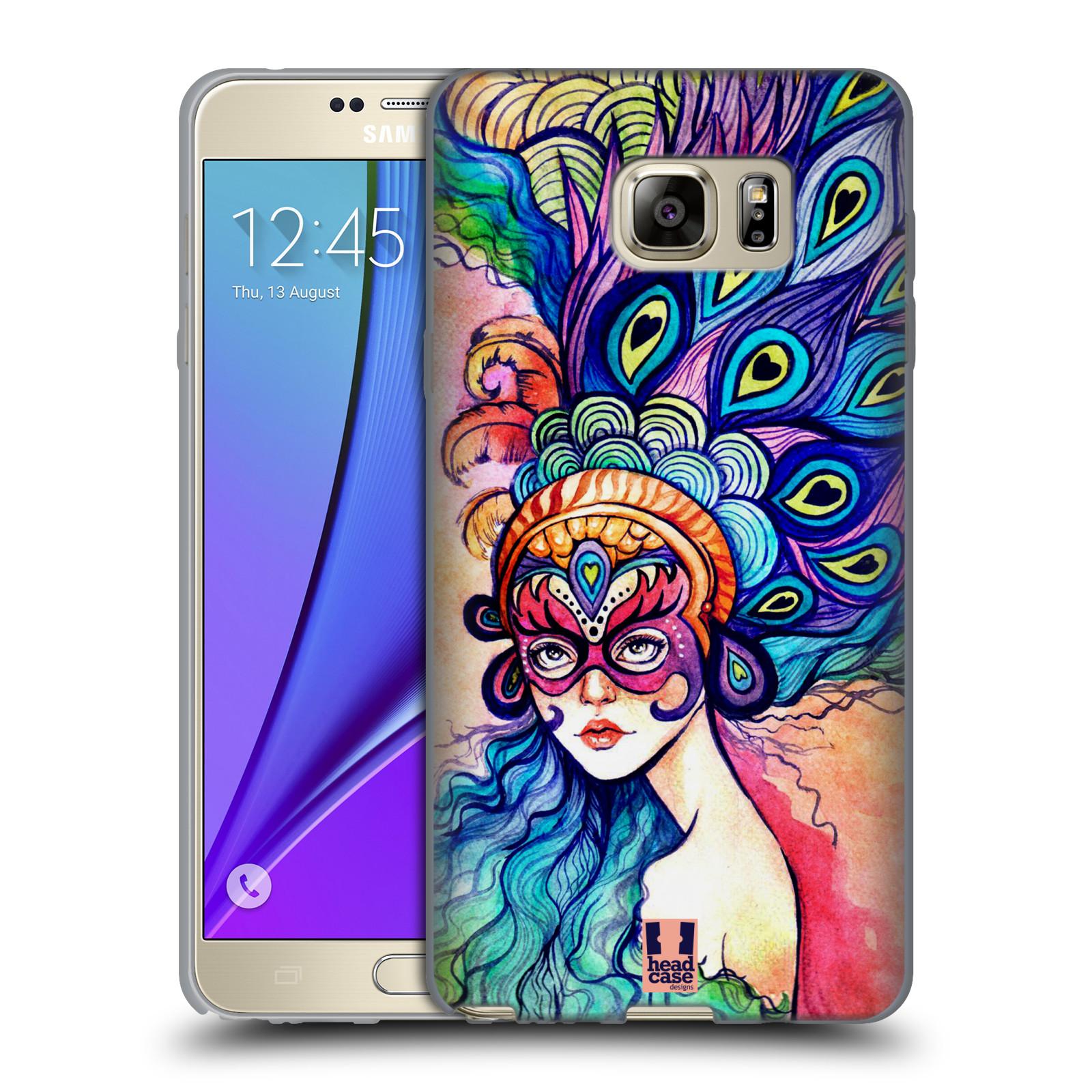 HEAD CASE silikonový obal na mobil Samsung Galaxy Note 5 (N920) vzor Maškarní ples masky kreslené vzory MODRÉ PÍRKA