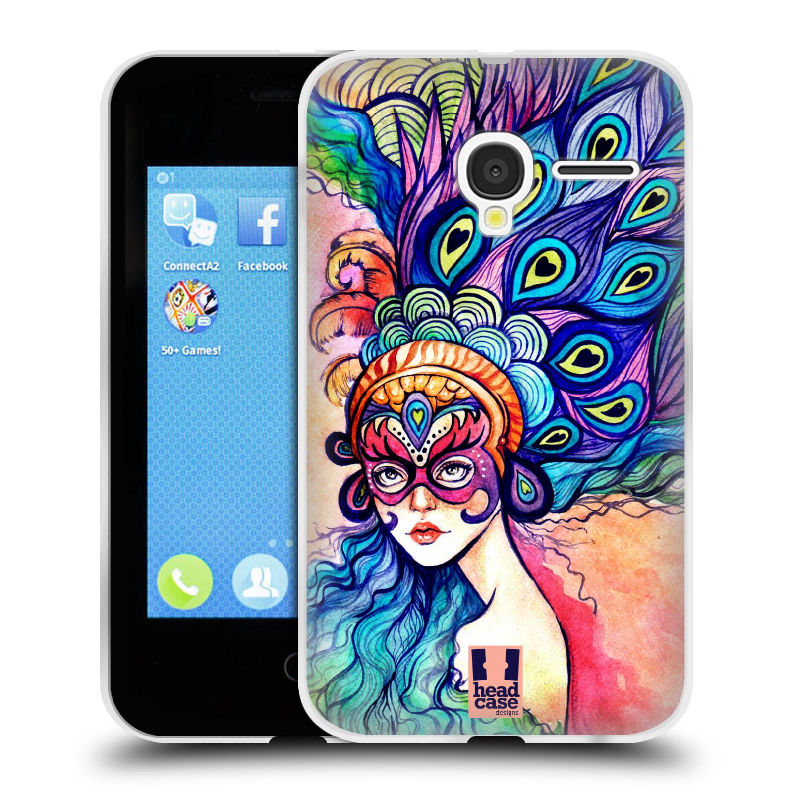 HEAD CASE silikonový obal na mobil Alcatel PIXI 3 OT-4022D (3,5 palcový displej) vzor Maškarní ples masky kreslené vzory MODRÉ PÍRKA