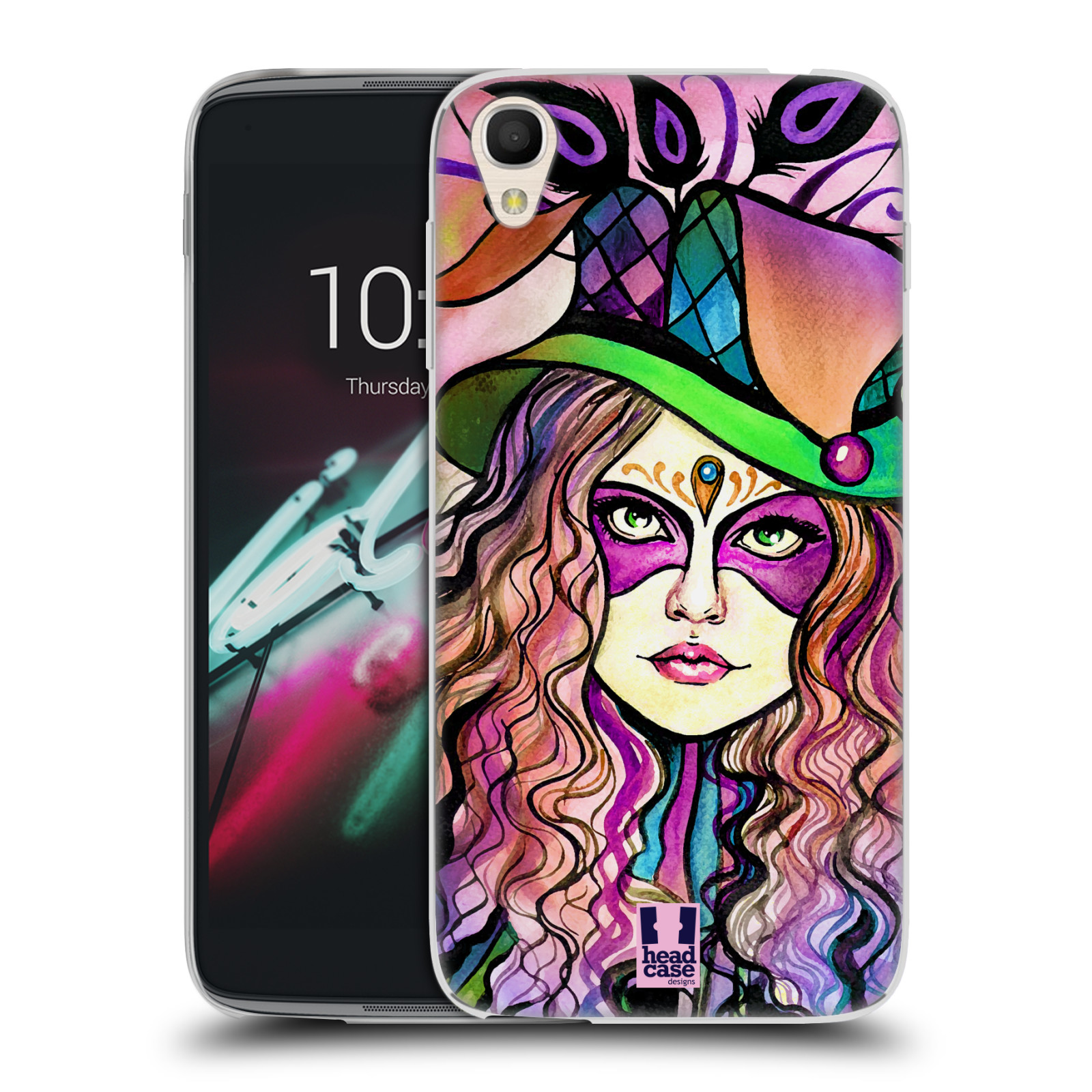 HEAD CASE silikonový obal na mobil Alcatel Idol 3 OT-6039Y (4.7) vzor Maškarní ples masky kreslené vzory KLOBOUK