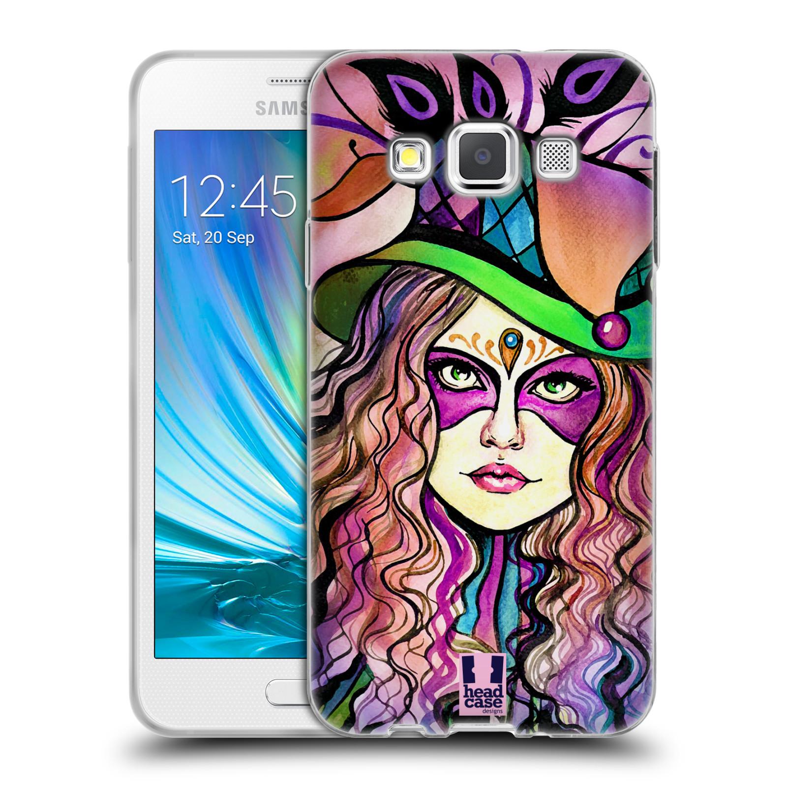 HEAD CASE silikonový obal na mobil Samsung Galaxy A3 vzor Maškarní ples masky kreslené vzory KLOBOUK