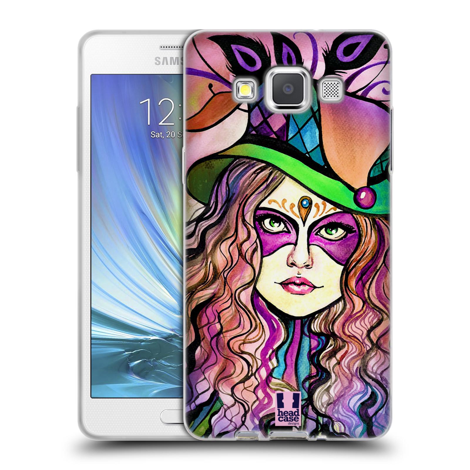 HEAD CASE silikonový obal na mobil Samsung Galaxy A5 vzor Maškarní ples masky kreslené vzory KLOBOUK