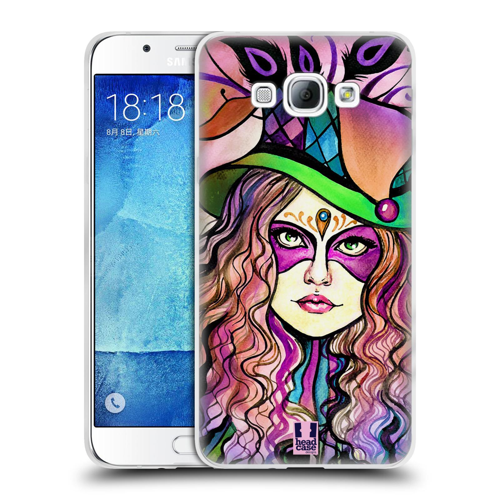 HEAD CASE silikonový obal na mobil Samsung Galaxy A8 vzor Maškarní ples masky kreslené vzory KLOBOUK