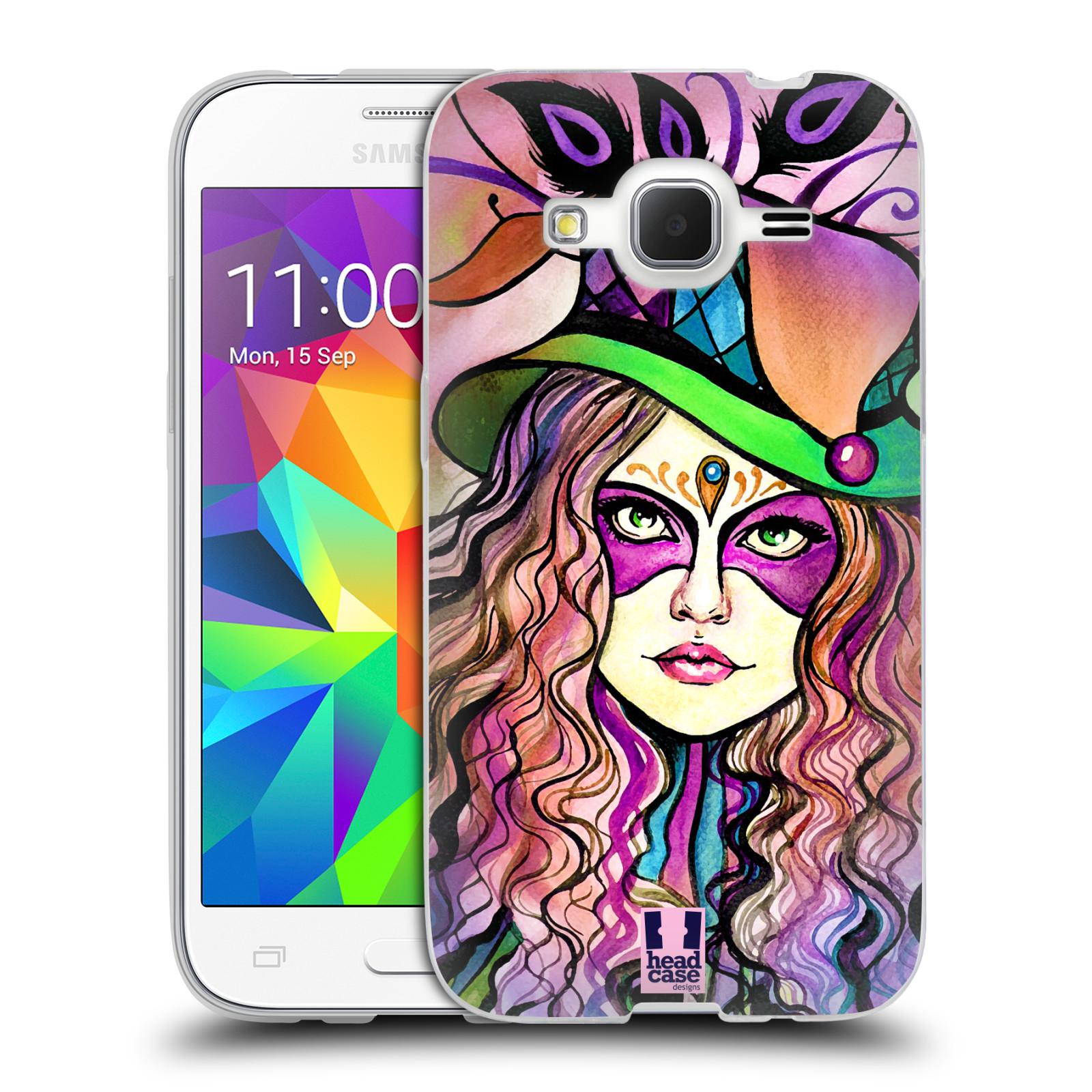 HEAD CASE silikonový obal na mobil Samsung Galaxy Core Prime (G360) vzor Maškarní ples masky kreslené vzory KLOBOUK