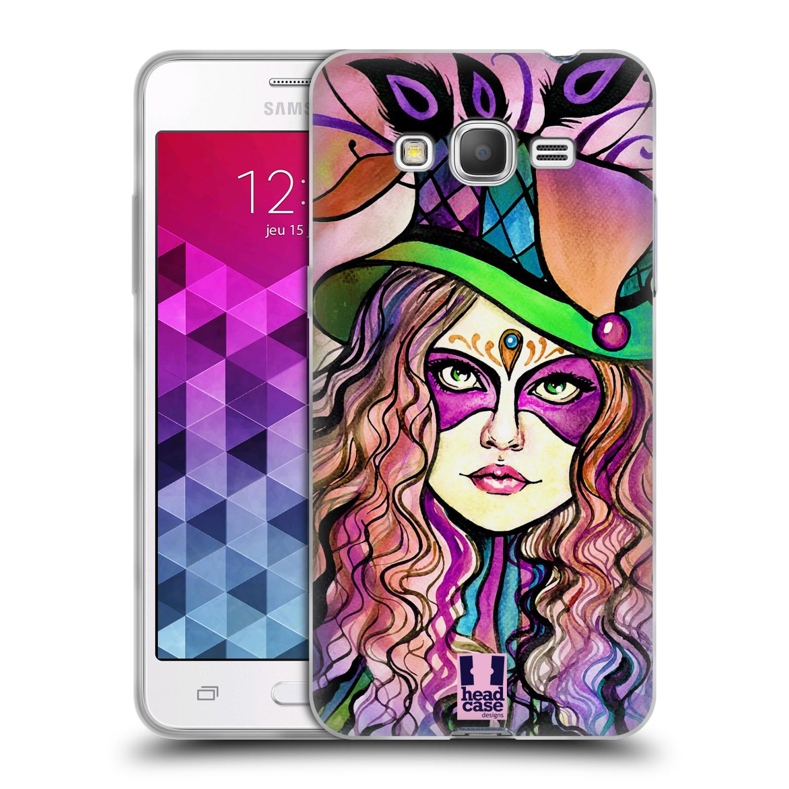 HEAD CASE silikonový obal na mobil Samsung Galaxy GRAND PRIME vzor Maškarní ples masky kreslené vzory KLOBOUK