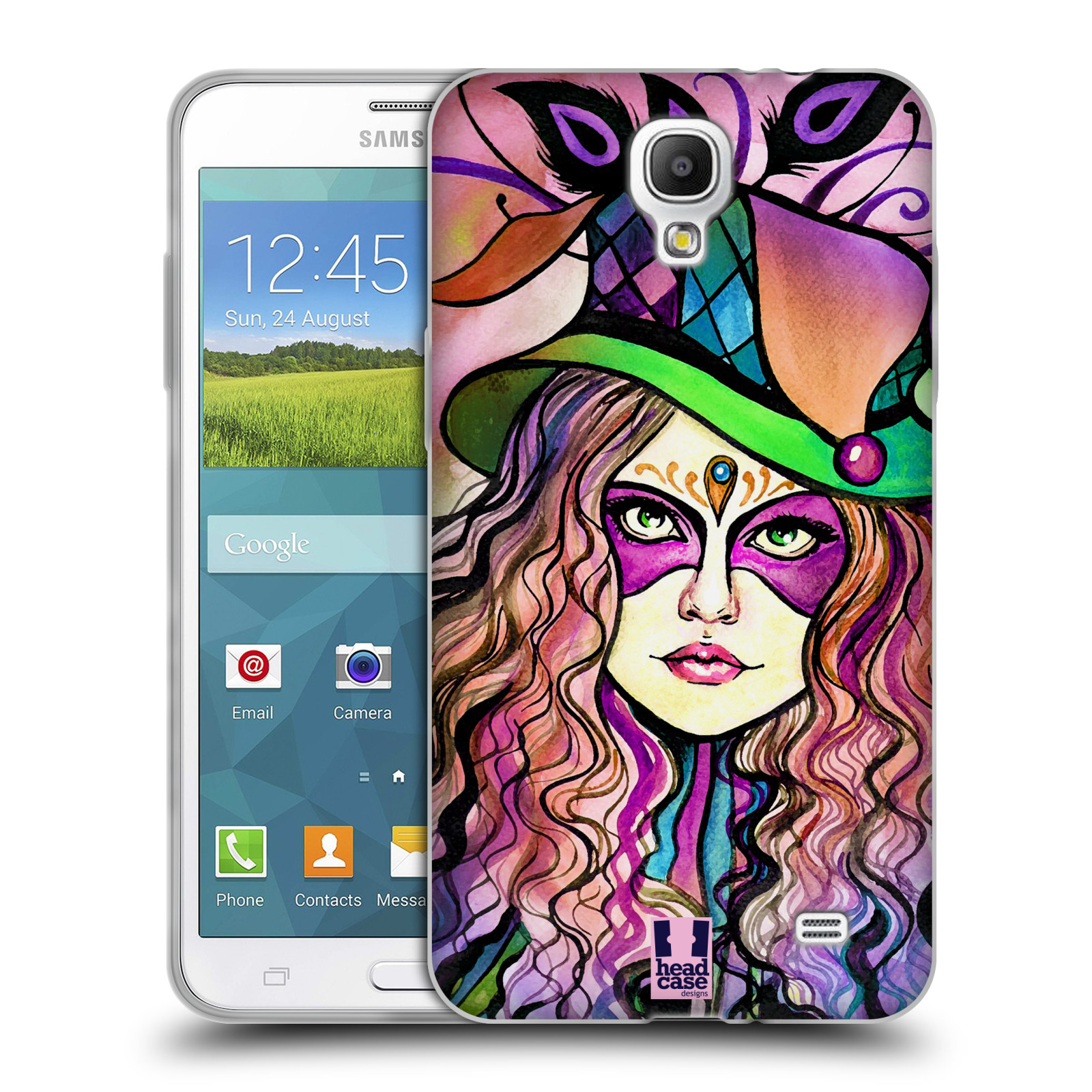 HEAD CASE silikonový obal na mobil Samsung Galaxy Mega 2 vzor Maškarní ples masky kreslené vzory KLOBOUK