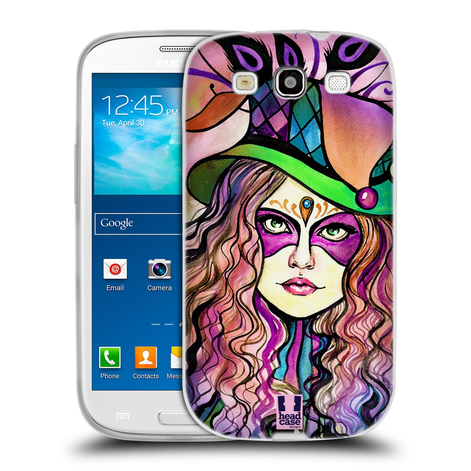 HEAD CASE silikonový obal na mobil Samsung Galaxy S3 i9300 vzor Maškarní ples masky kreslené vzory KLOBOUK