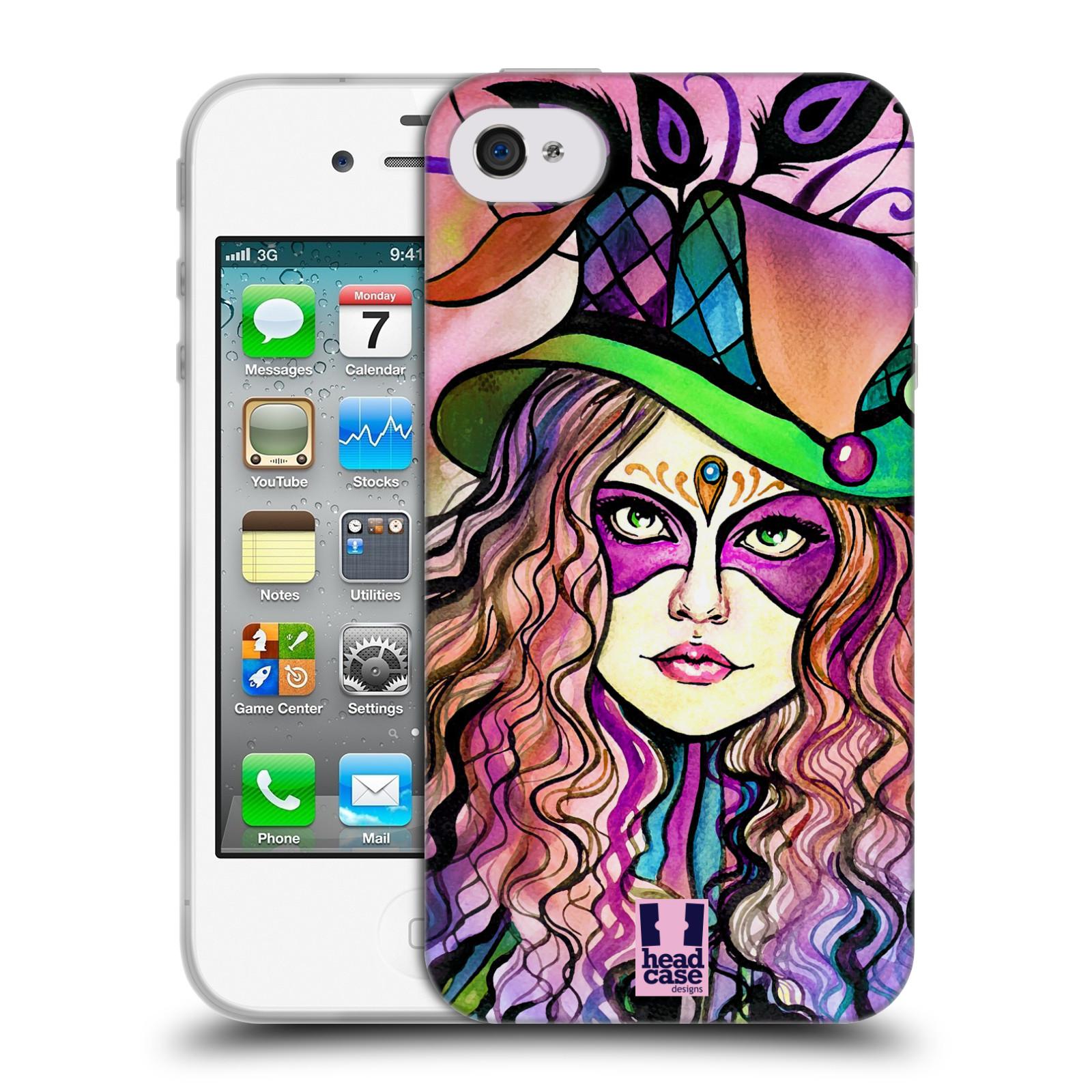 HEAD CASE silikonový obal na mobil Apple Iphone 4/4S vzor Maškarní ples masky kreslené vzory KLOBOUK