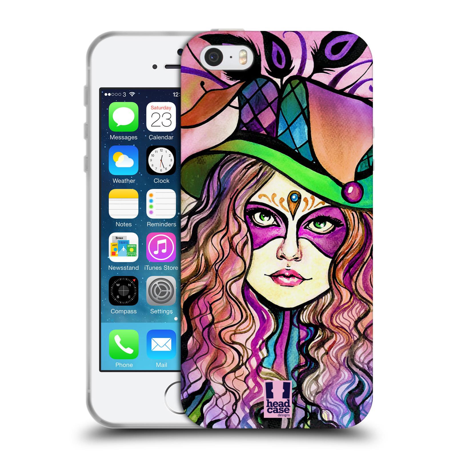 HEAD CASE silikonový obal na mobil Apple Iphone 5/5S vzor Maškarní ples masky kreslené vzory KLOBOUK