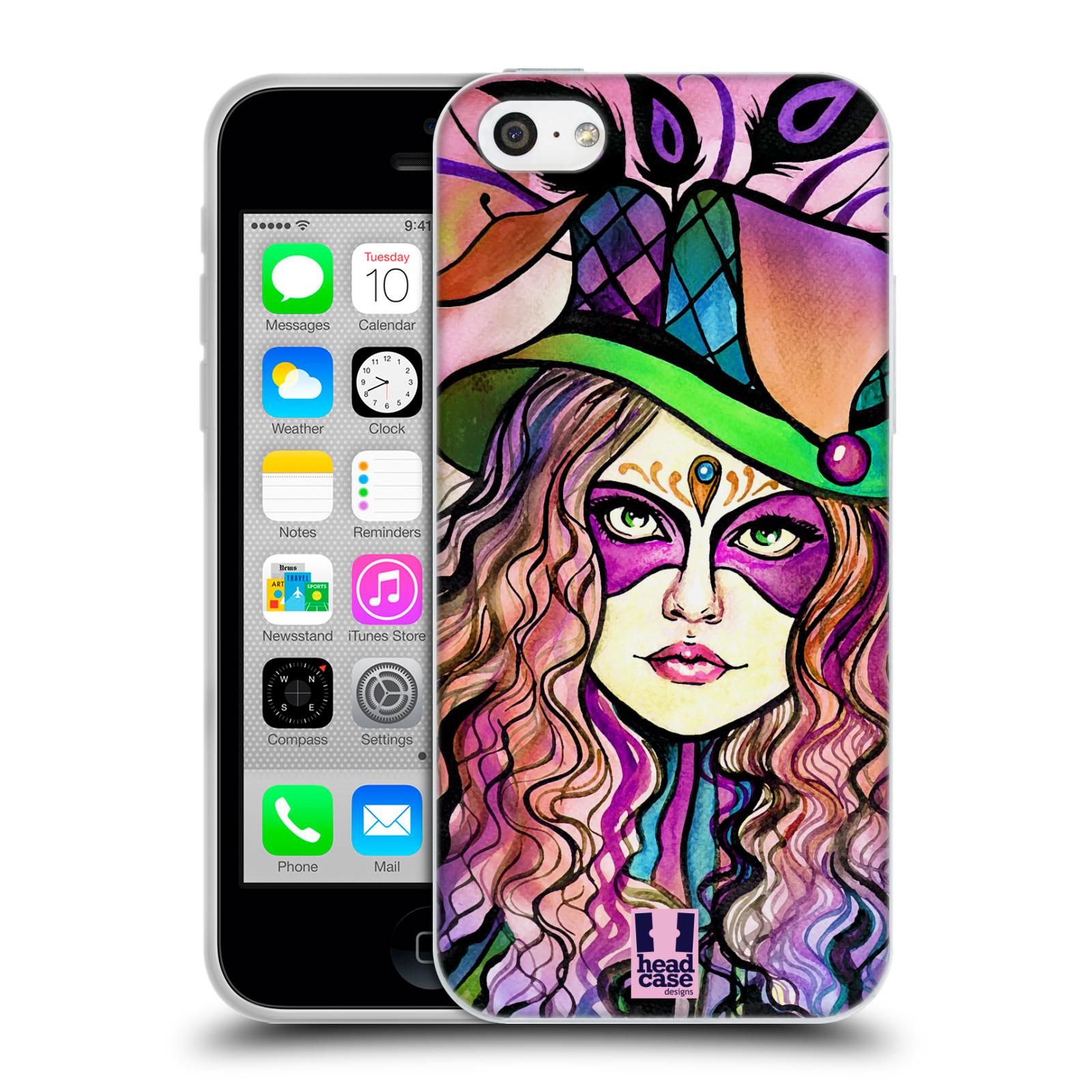 HEAD CASE silikonový obal na mobil Apple Iphone 5C vzor Maškarní ples masky kreslené vzory KLOBOUK