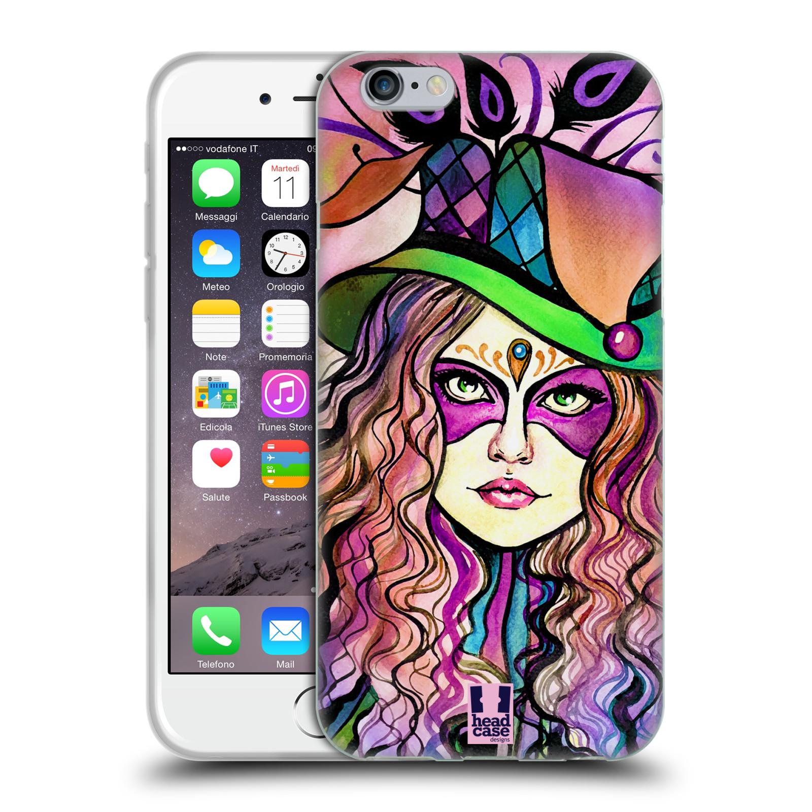 HEAD CASE silikonový obal na mobil Apple Iphone 6/6S vzor Maškarní ples masky kreslené vzory KLOBOUK