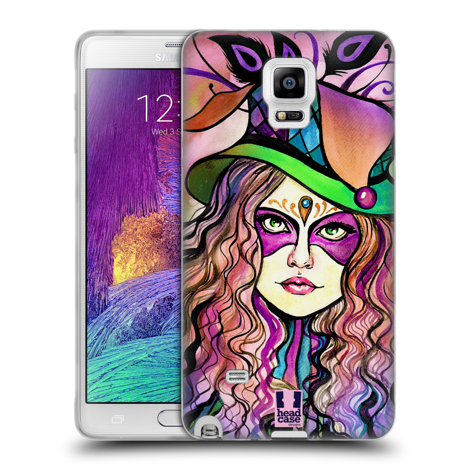 HEAD CASE silikonový obal na mobil Samsung Galaxy Note 4 (N910) vzor Maškarní ples masky kreslené vzory KLOBOUK