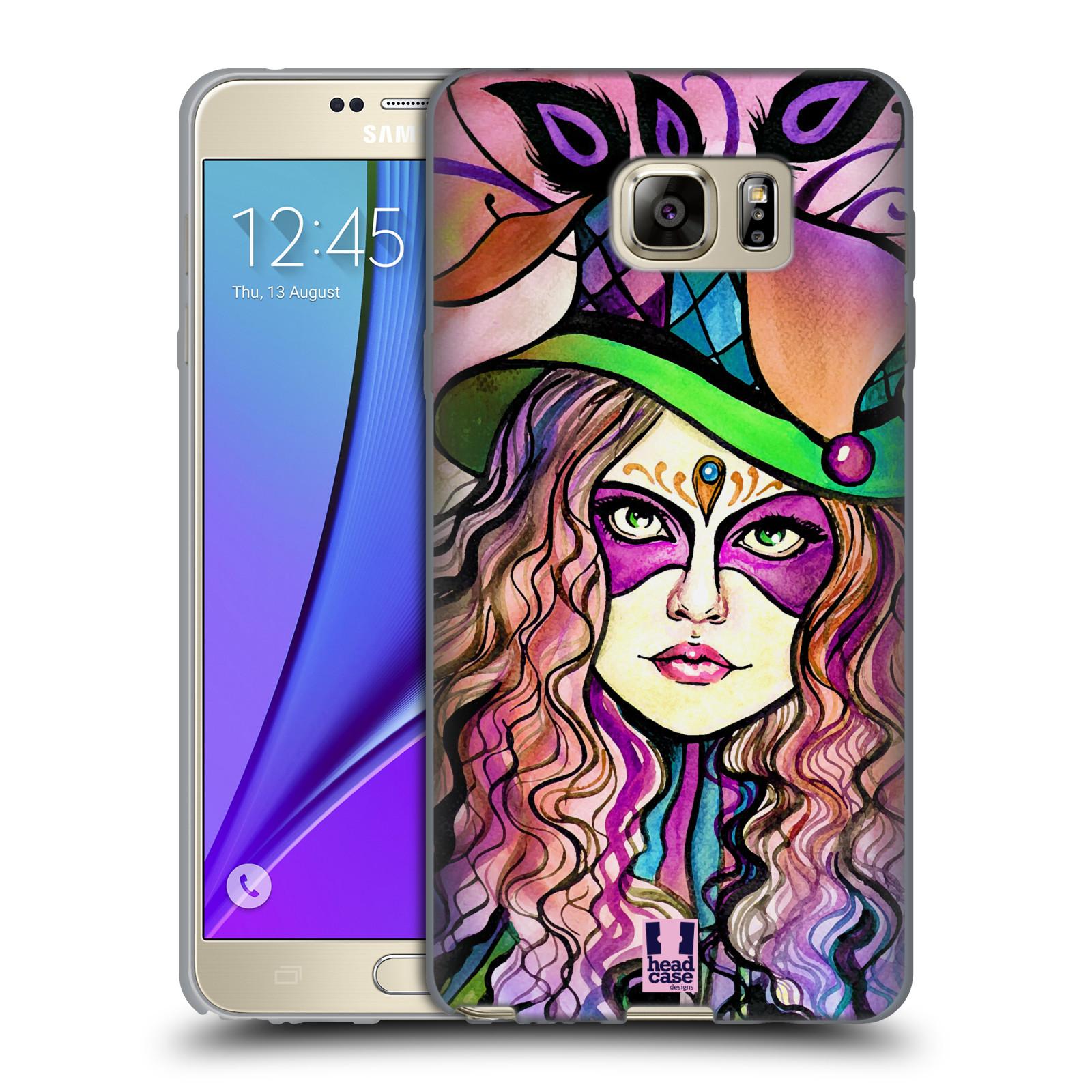 HEAD CASE silikonový obal na mobil Samsung Galaxy Note 5 (N920) vzor Maškarní ples masky kreslené vzory KLOBOUK