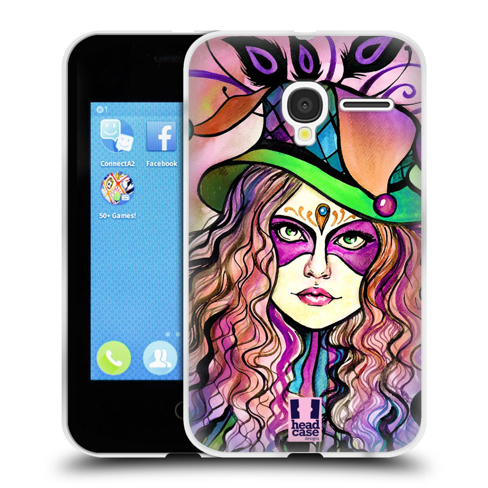 HEAD CASE silikonový obal na mobil Alcatel PIXI 3 OT-4022D (3,5 palcový displej) vzor Maškarní ples masky kreslené vzory KLOBOUK