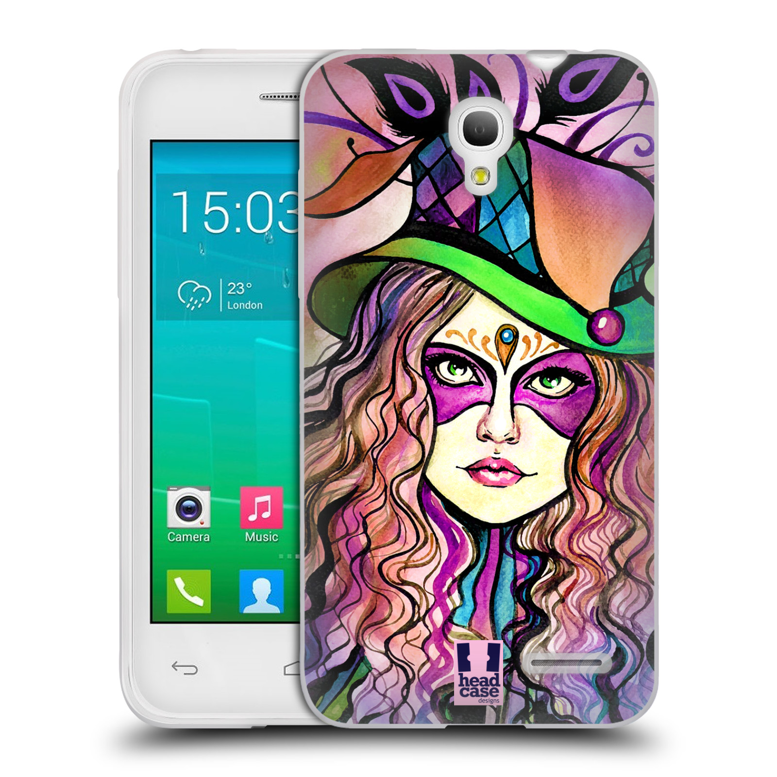 HEAD CASE silikonový obal na mobil Alcatel POP S3 OT-5050Y vzor Maškarní ples masky kreslené vzory KLOBOUK