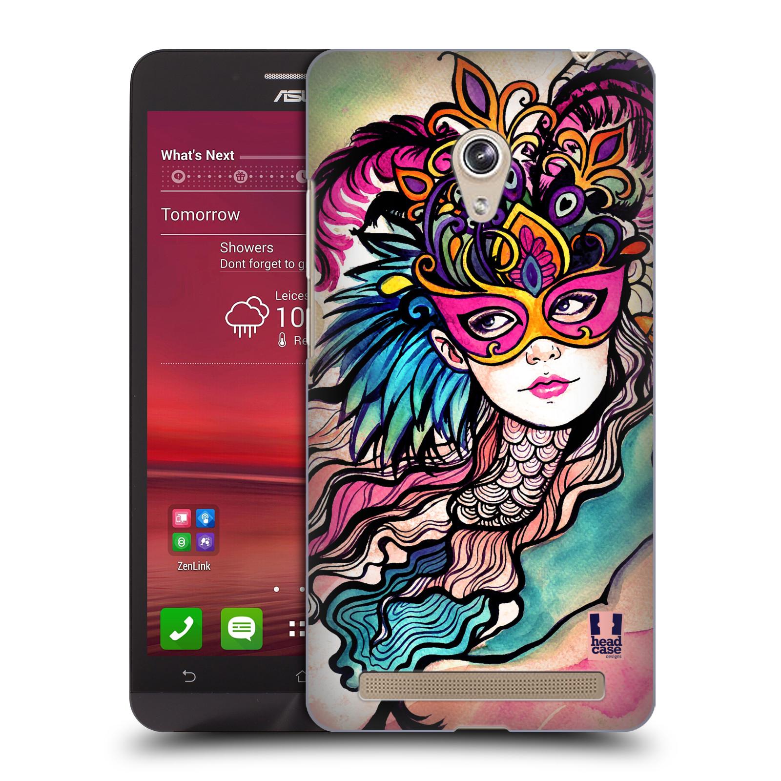 HEAD CASE plastový obal na mobil Asus Zenfone 6 vzor Maškarní ples masky kreslené vzory růžová