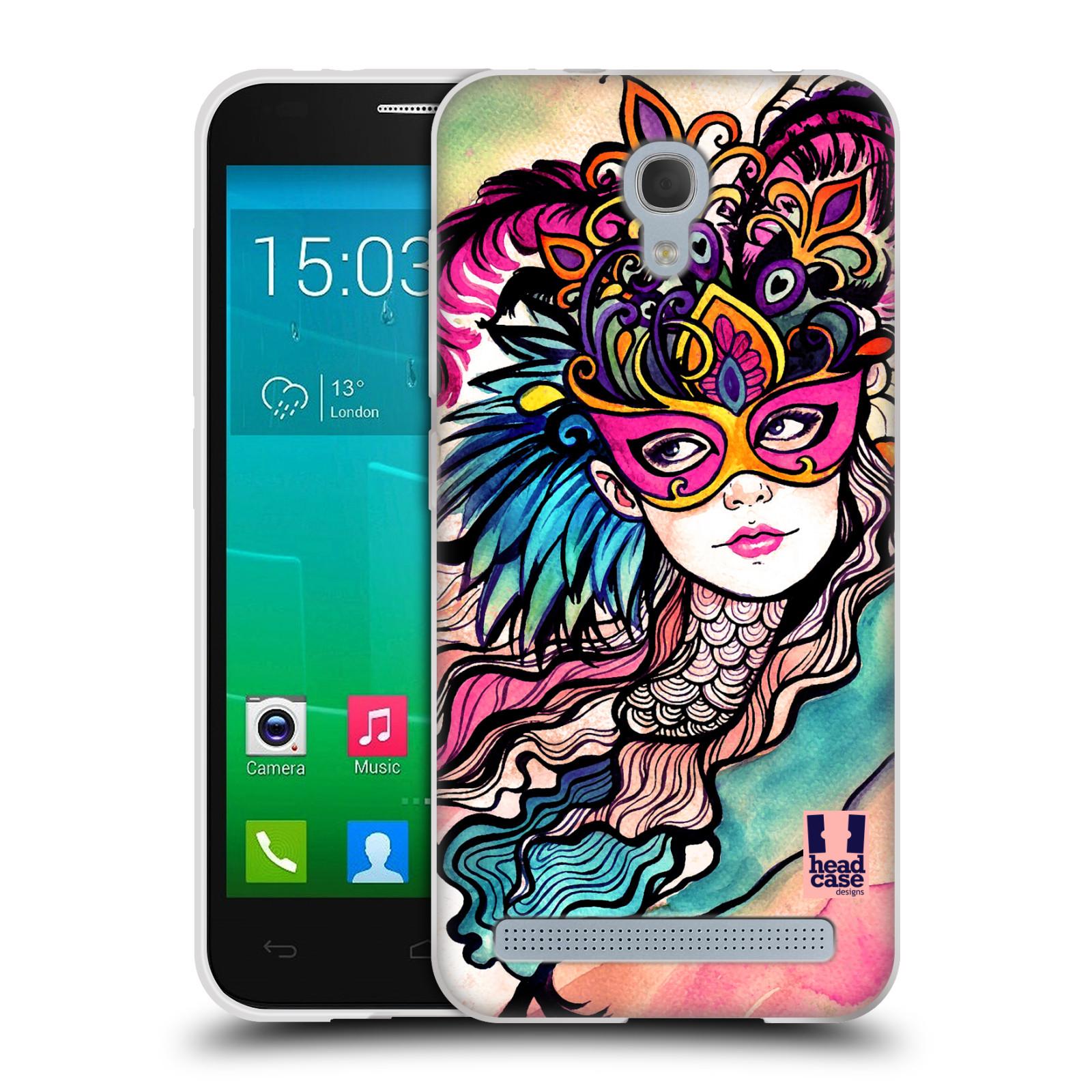 HEAD CASE silikonový obal na mobil Alcatel Idol 2 MINI S 6036Y vzor Maškarní ples masky kreslené vzory růžová