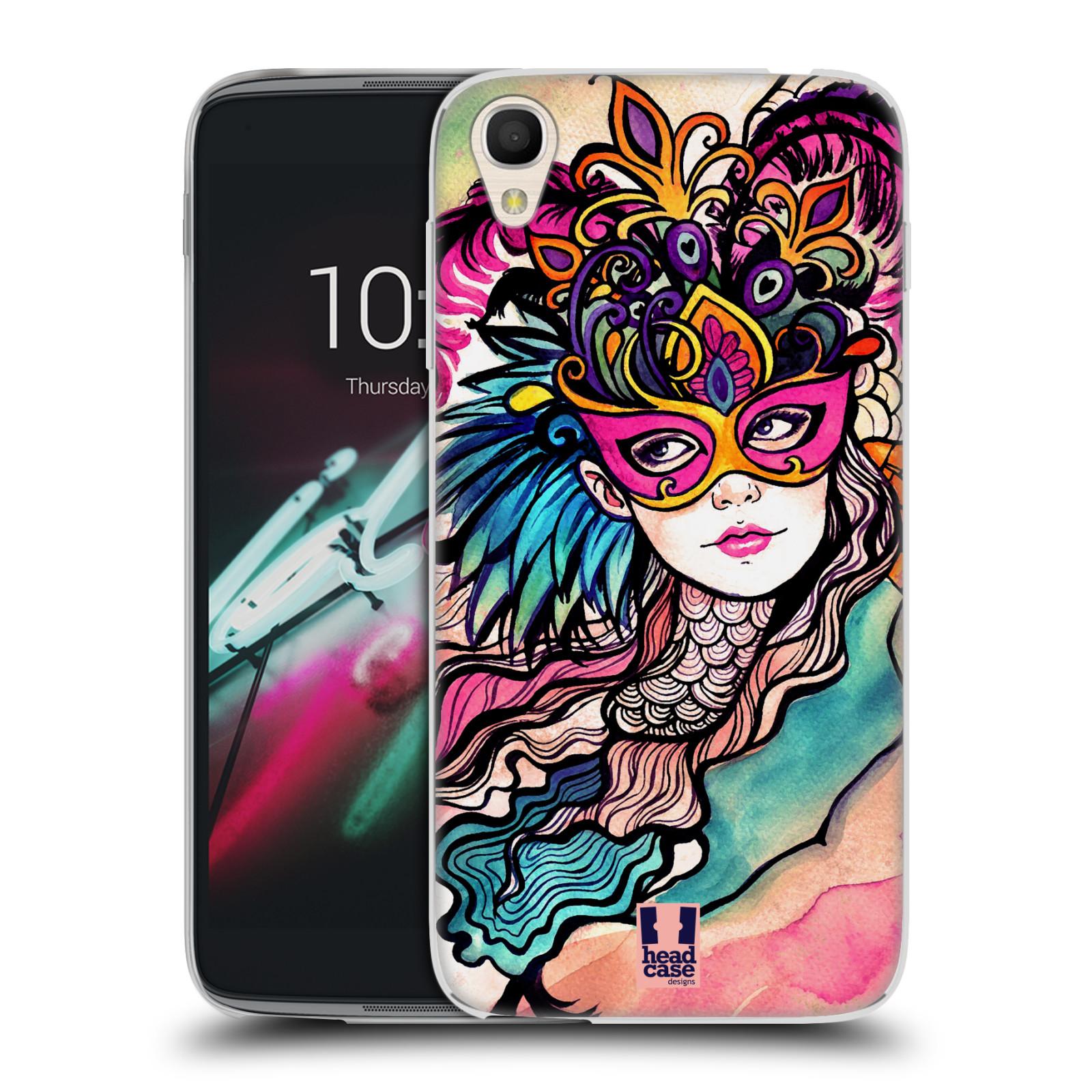 HEAD CASE silikonový obal na mobil Alcatel Idol 3 OT-6039Y (4.7) vzor Maškarní ples masky kreslené vzory růžová
