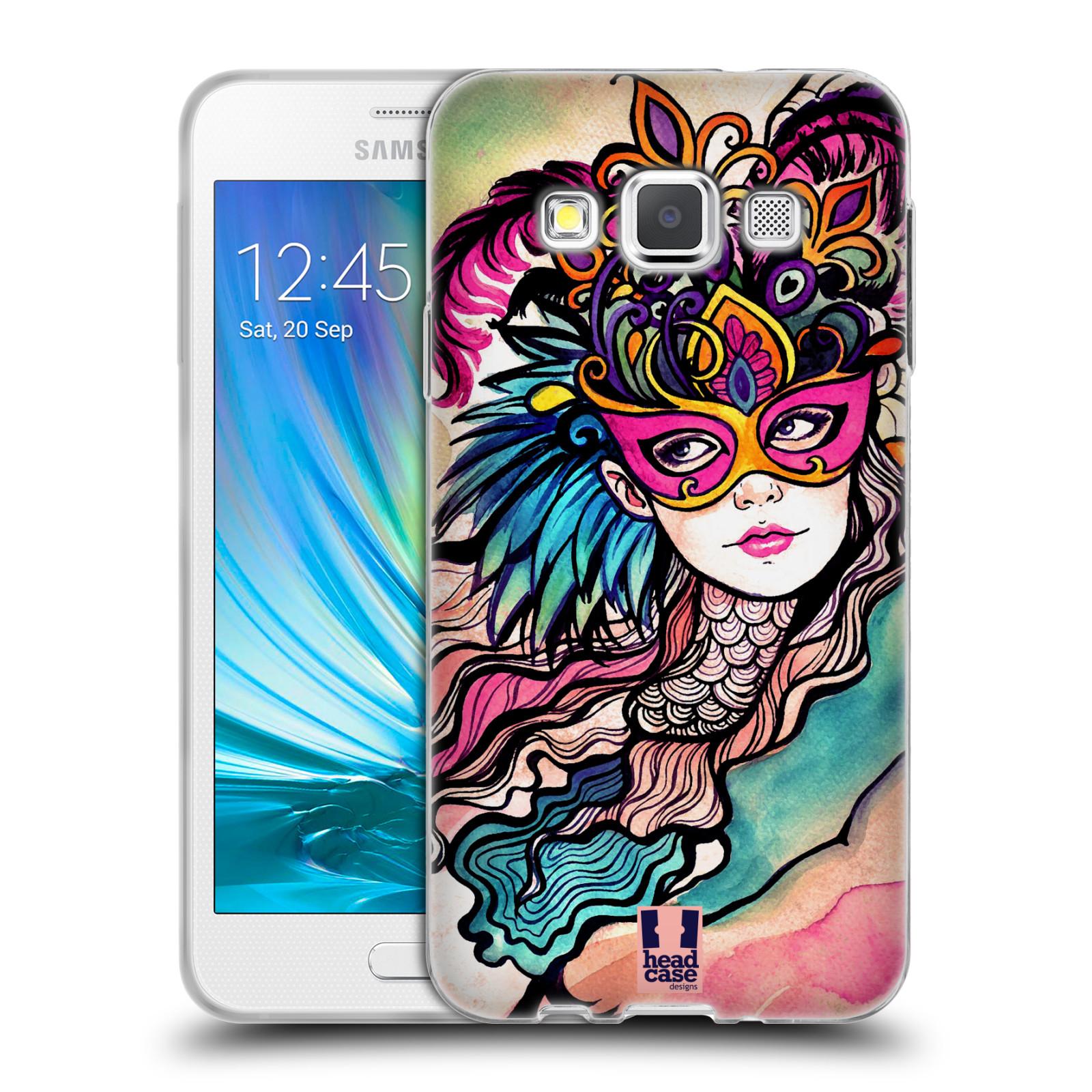 HEAD CASE silikonový obal na mobil Samsung Galaxy A3 vzor Maškarní ples masky kreslené vzory růžová