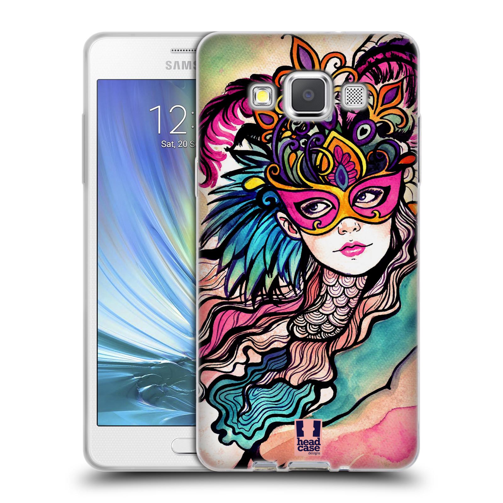 HEAD CASE silikonový obal na mobil Samsung Galaxy A5 vzor Maškarní ples masky kreslené vzory růžová