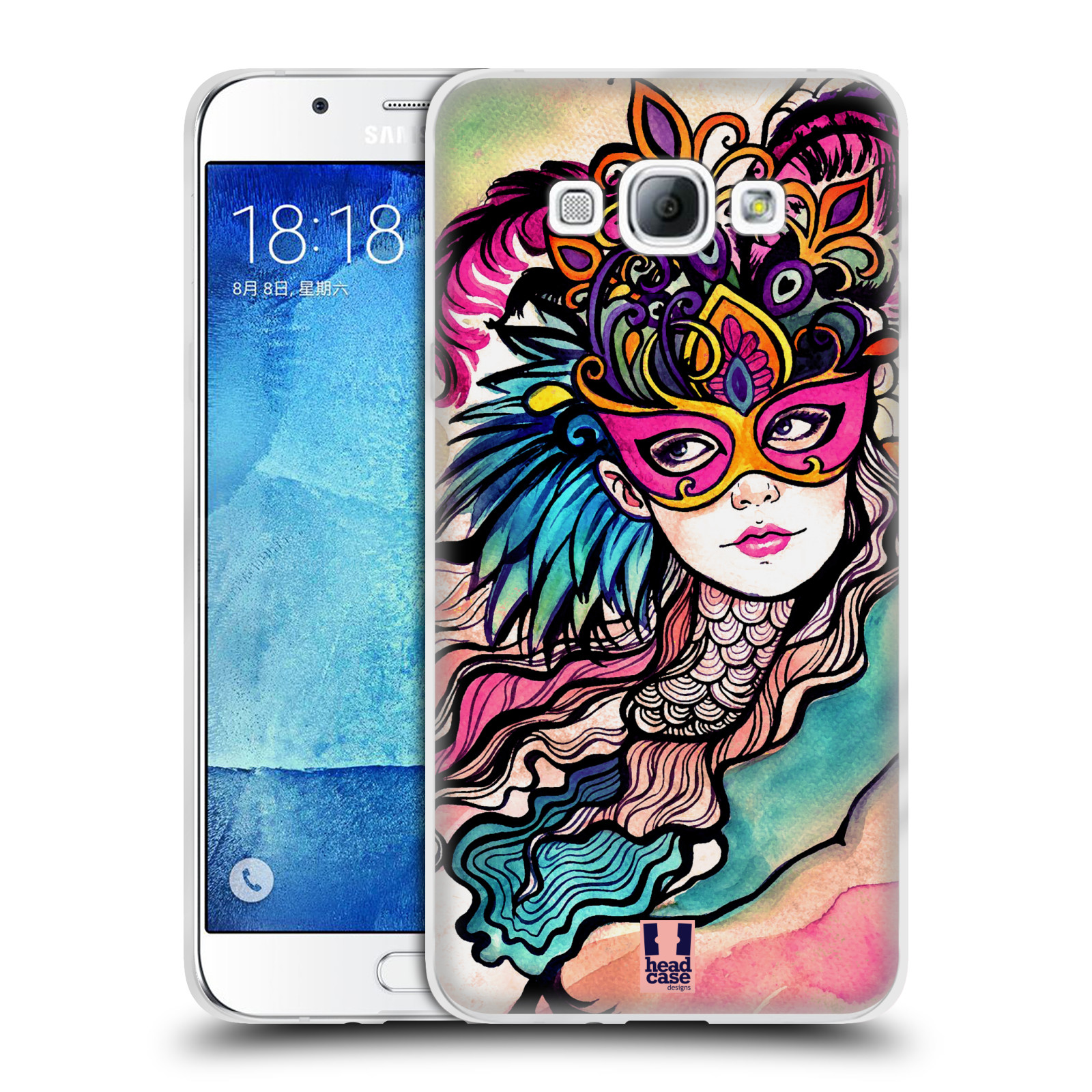 HEAD CASE silikonový obal na mobil Samsung Galaxy A8 vzor Maškarní ples masky kreslené vzory růžová