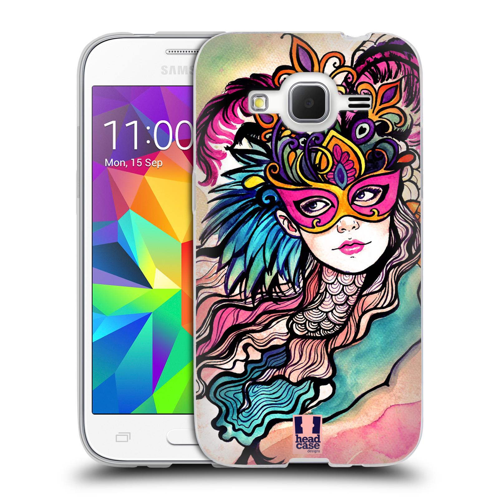 HEAD CASE silikonový obal na mobil Samsung Galaxy Core Prime (G360) vzor Maškarní ples masky kreslené vzory růžová