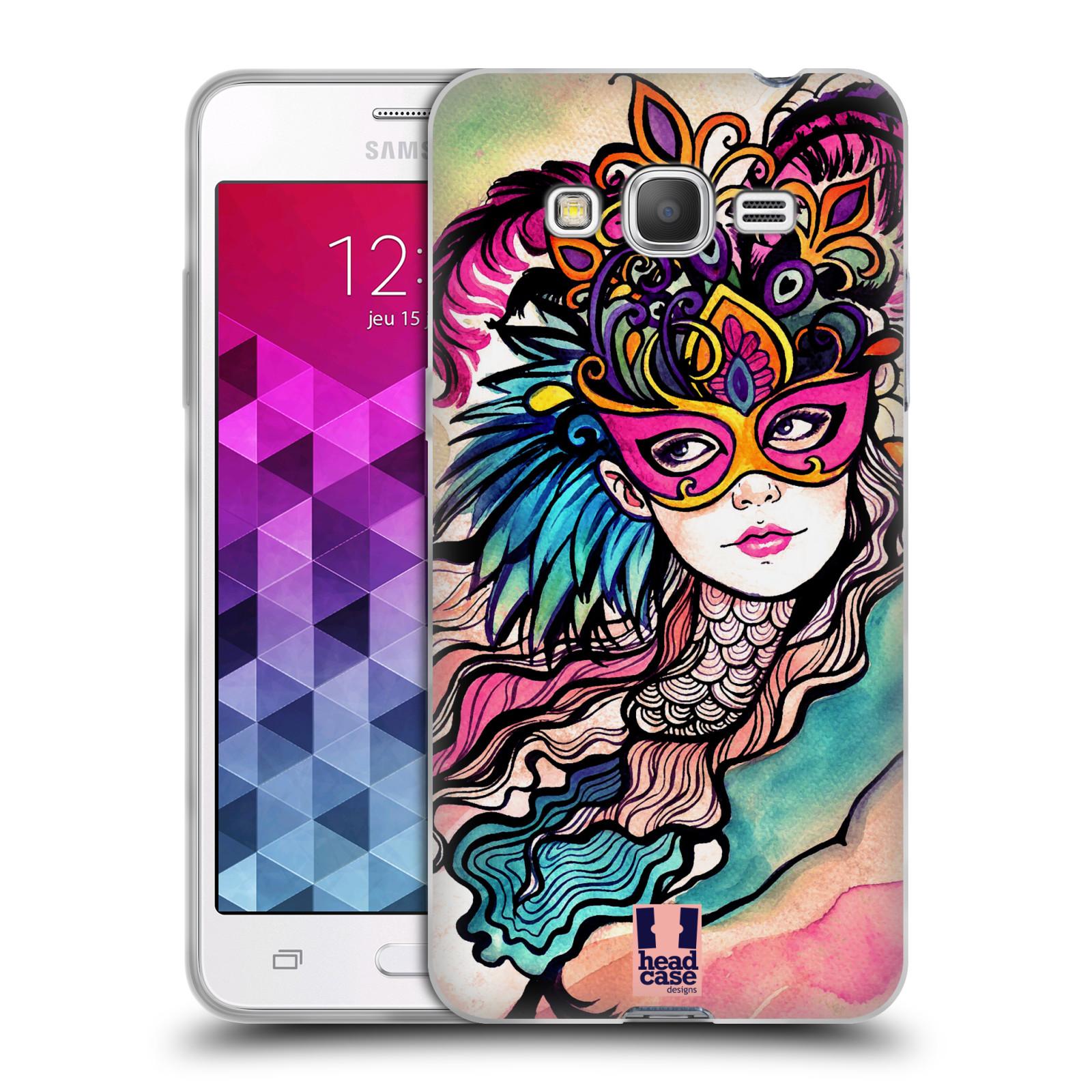 HEAD CASE silikonový obal na mobil Samsung Galaxy GRAND PRIME vzor Maškarní ples masky kreslené vzory růžová