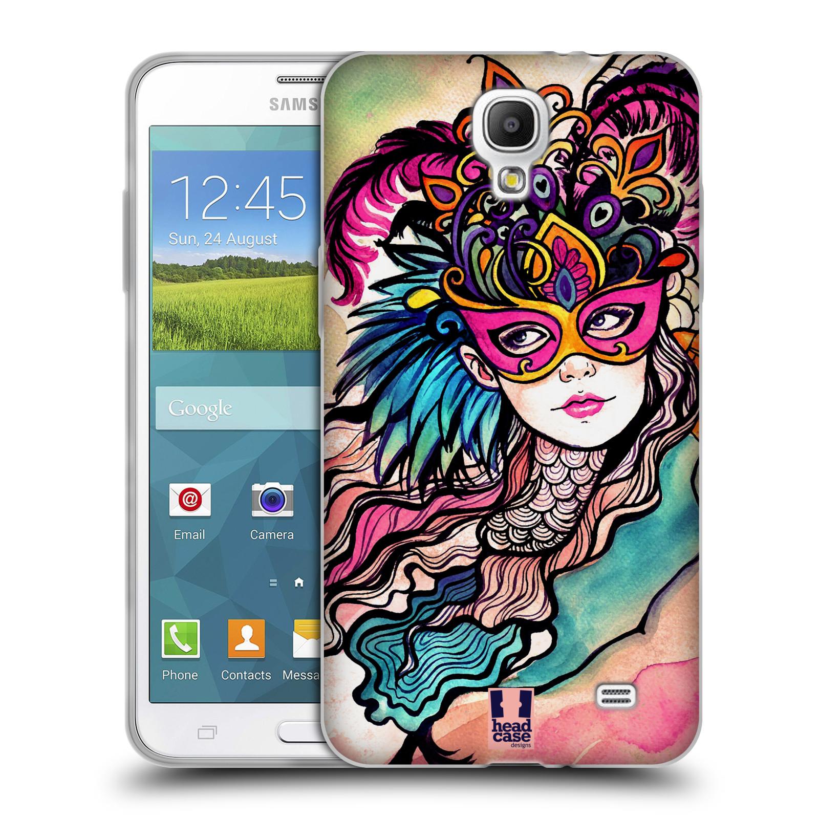 HEAD CASE silikonový obal na mobil Samsung Galaxy Mega 2 vzor Maškarní ples masky kreslené vzory růžová