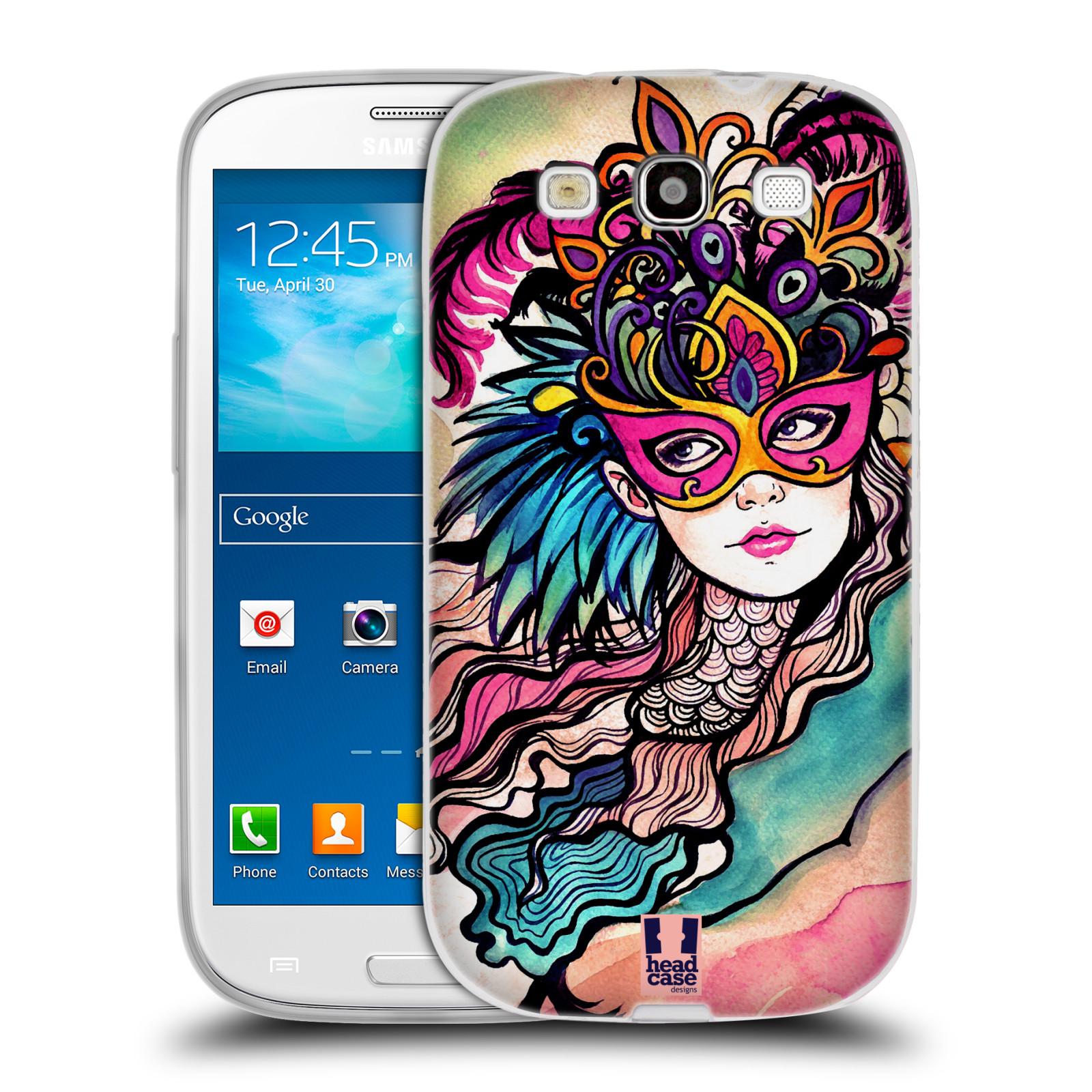 HEAD CASE silikonový obal na mobil Samsung Galaxy S3 i9300 vzor Maškarní ples masky kreslené vzory růžová