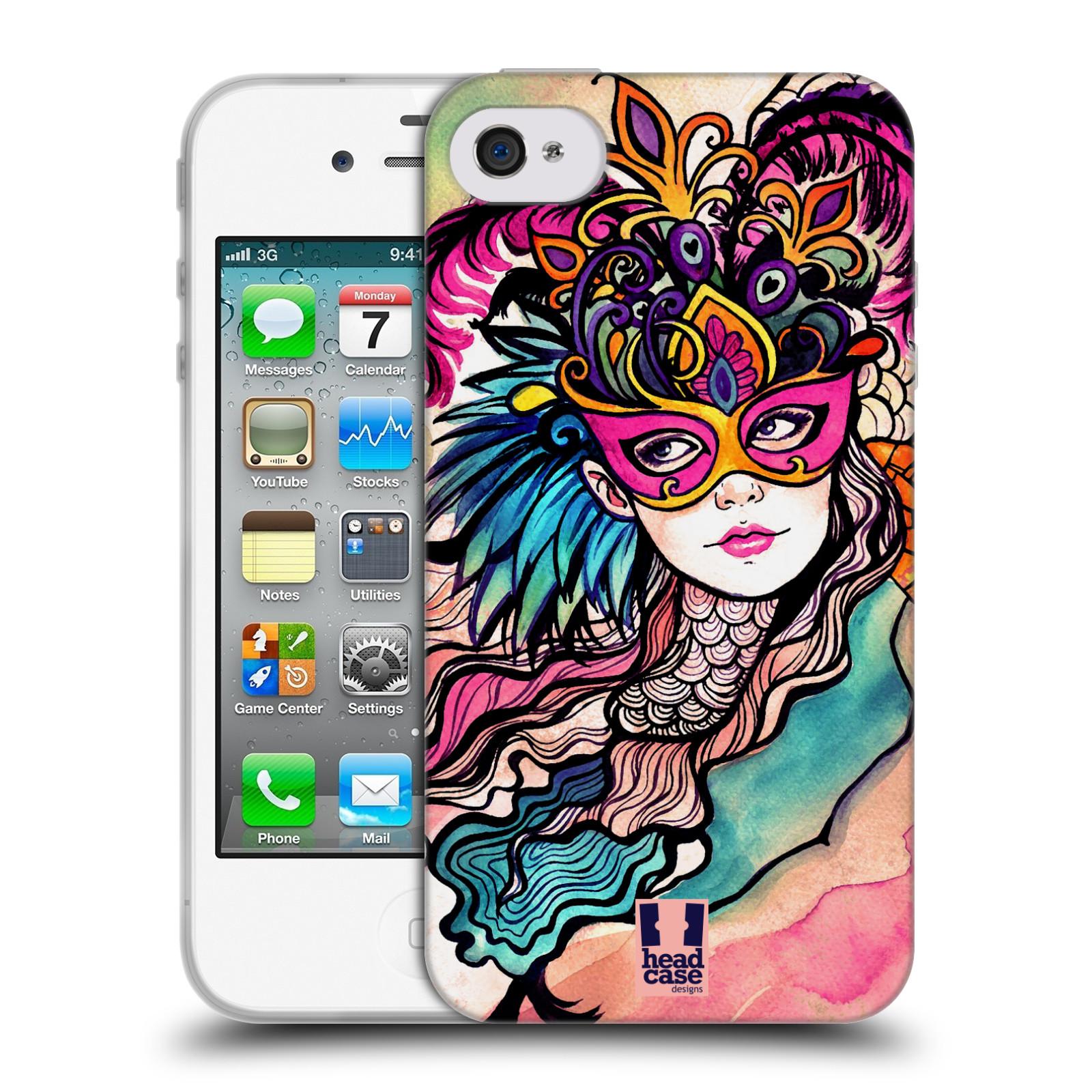 HEAD CASE silikonový obal na mobil Apple Iphone 4/4S vzor Maškarní ples masky kreslené vzory růžová