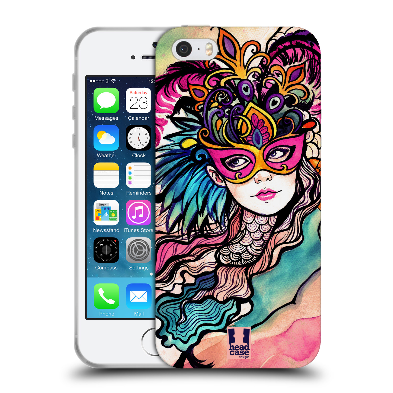 HEAD CASE silikonový obal na mobil Apple Iphone 5/5S vzor Maškarní ples masky kreslené vzory růžová