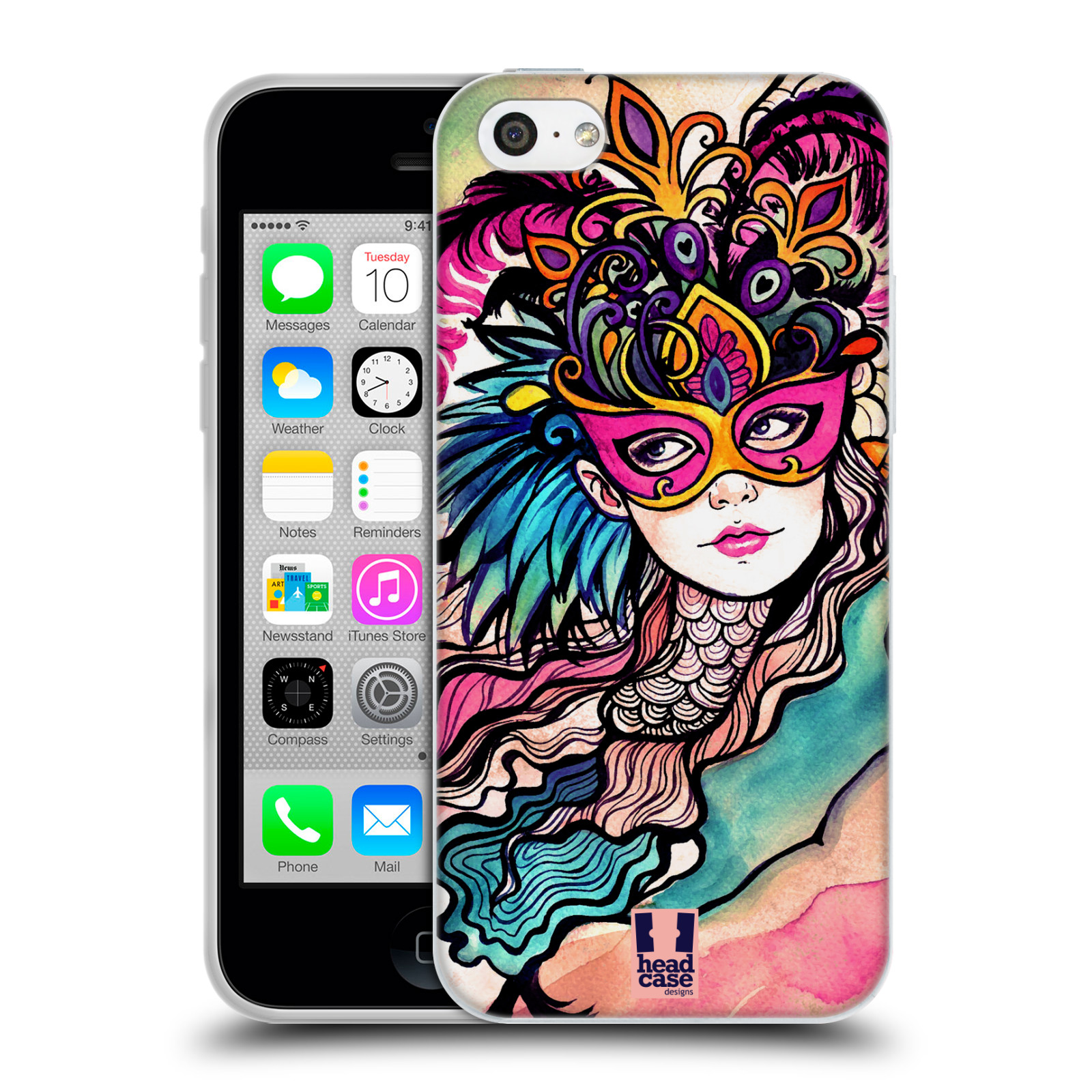 HEAD CASE silikonový obal na mobil Apple Iphone 5C vzor Maškarní ples masky kreslené vzory růžová
