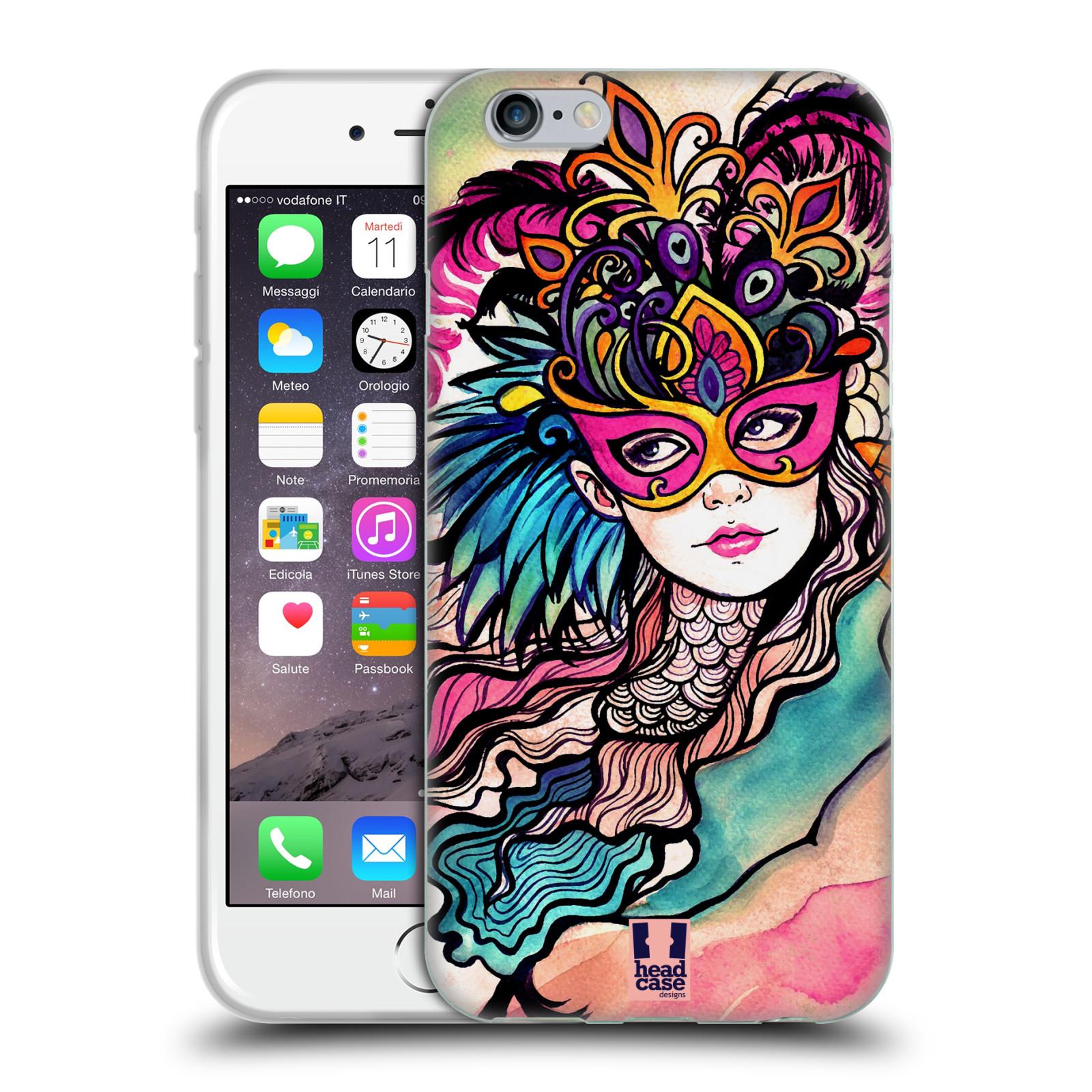 HEAD CASE silikonový obal na mobil Apple Iphone 6/6S vzor Maškarní ples masky kreslené vzory růžová