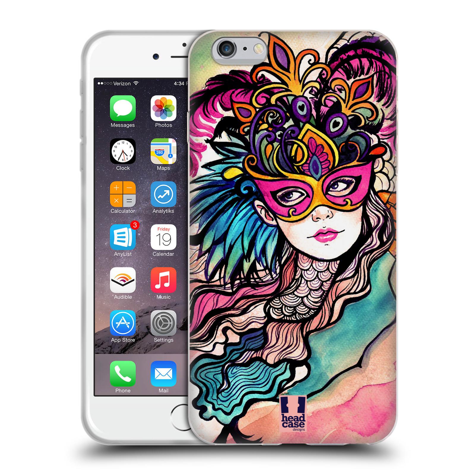 HEAD CASE silikonový obal na mobil Apple Iphone 6 PLUS/ 6S PLUS vzor Maškarní ples masky kreslené vzory růžová